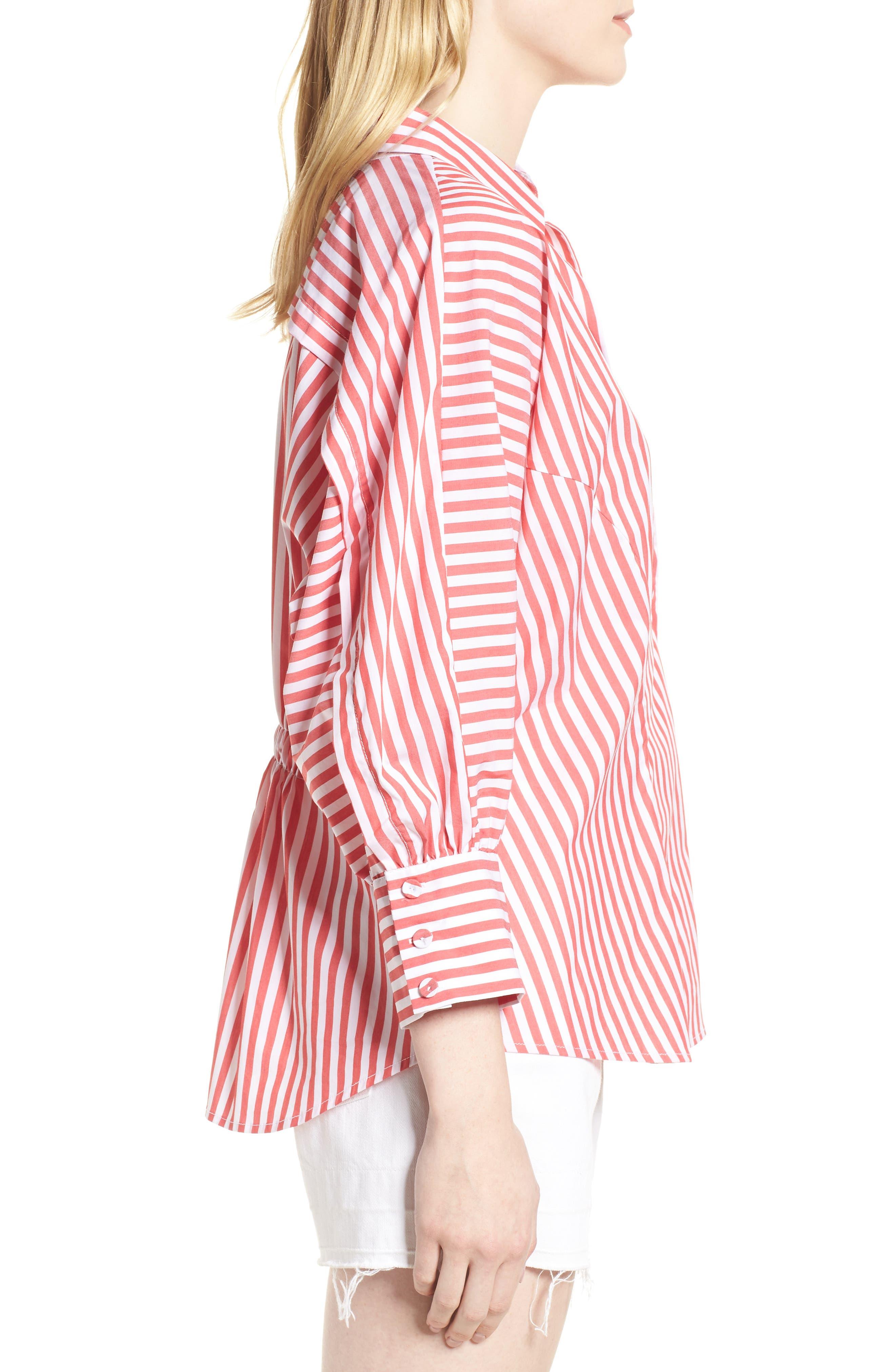 Asymmetrical Stripe Blouse,                             Alternate thumbnail 3, color,                             RED/ WHITE STRIPE
