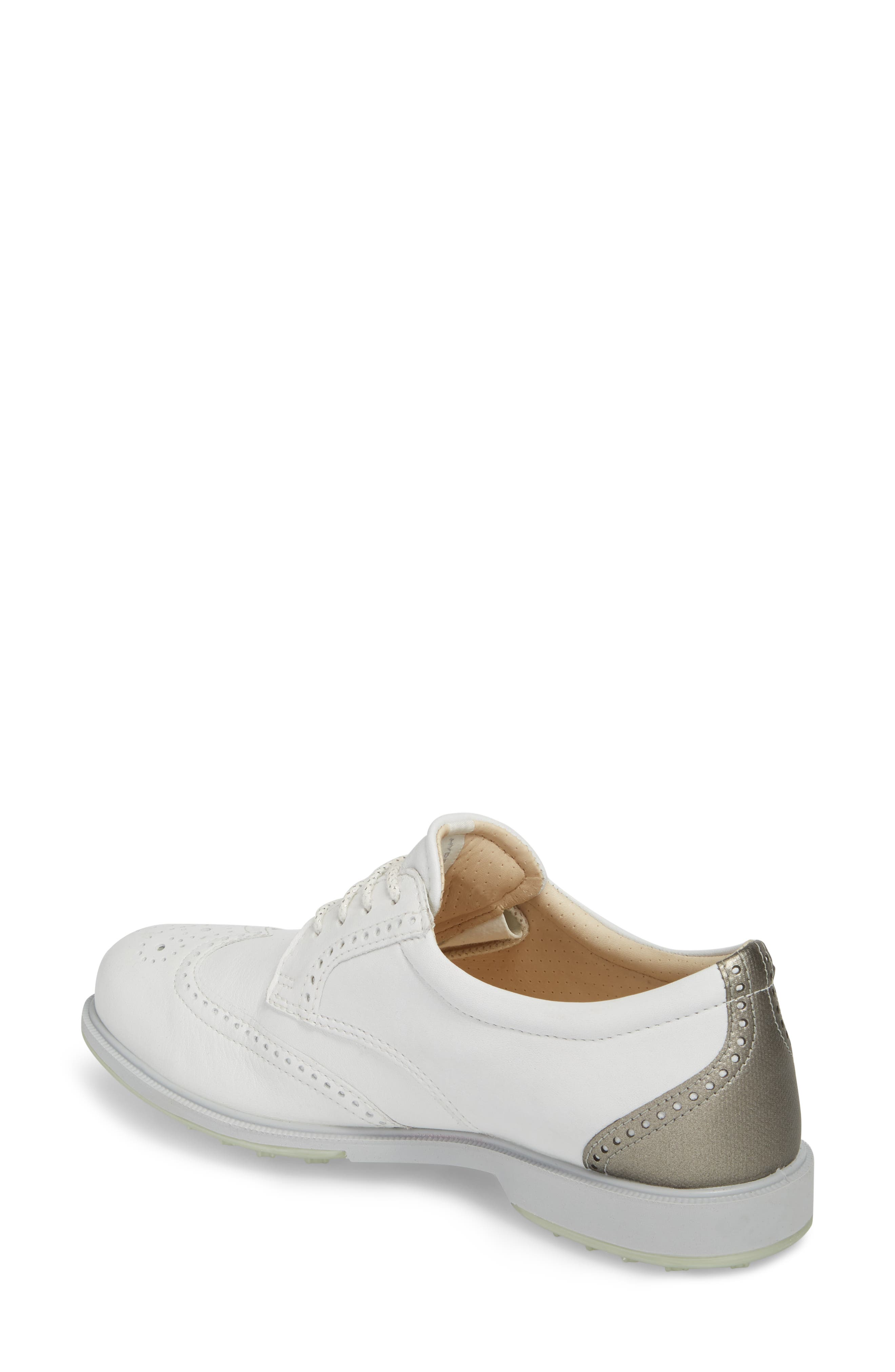 'Tour' Hybrid Wingtip Golf Shoe,                             Alternate thumbnail 2, color,                             WHITE LEATHER/ GREY