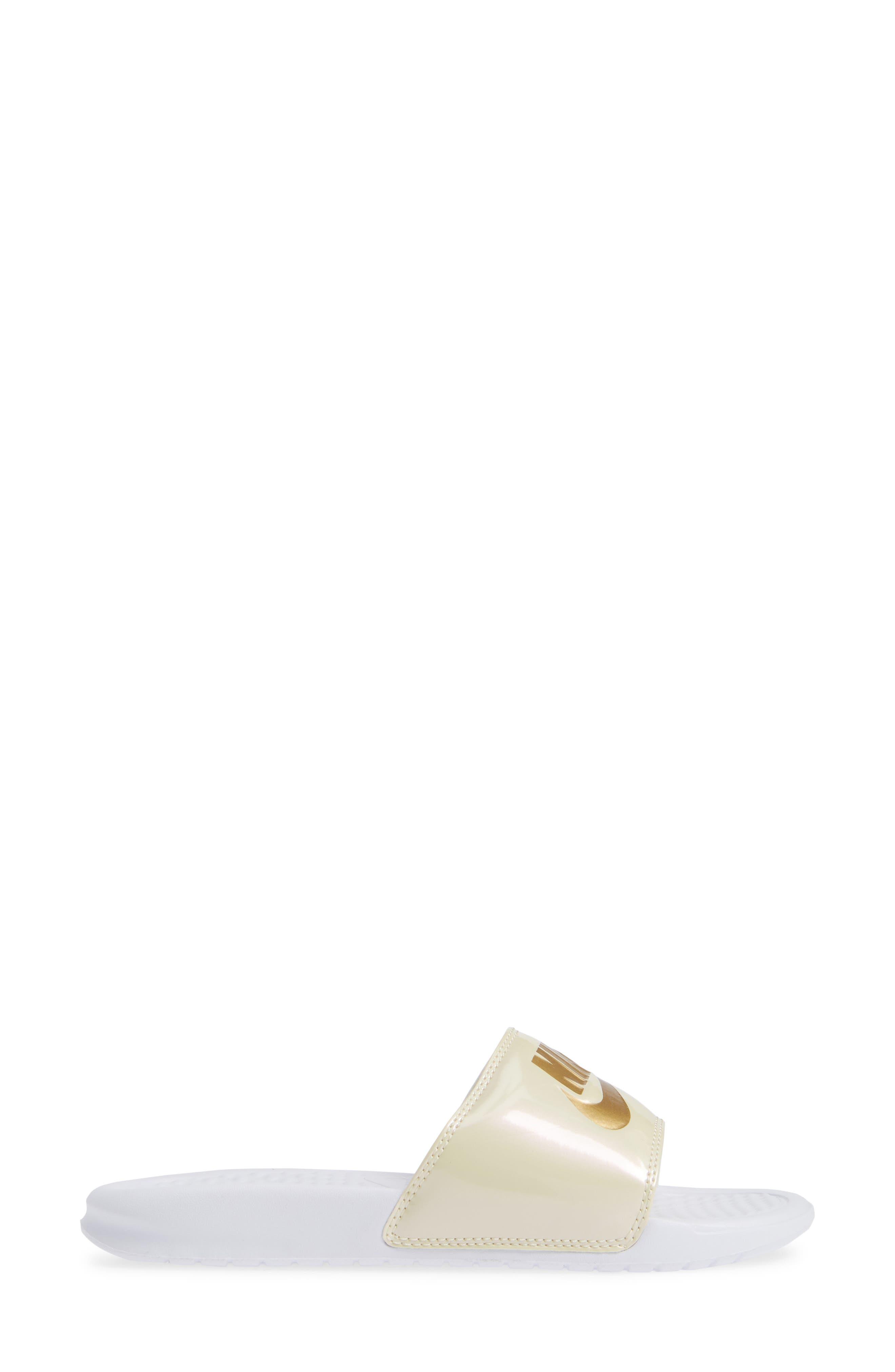 Benassi Just Do It Print Sandal,                             Alternate thumbnail 3, color,                             WHITE/ METALLIC GOLD/ BEACH
