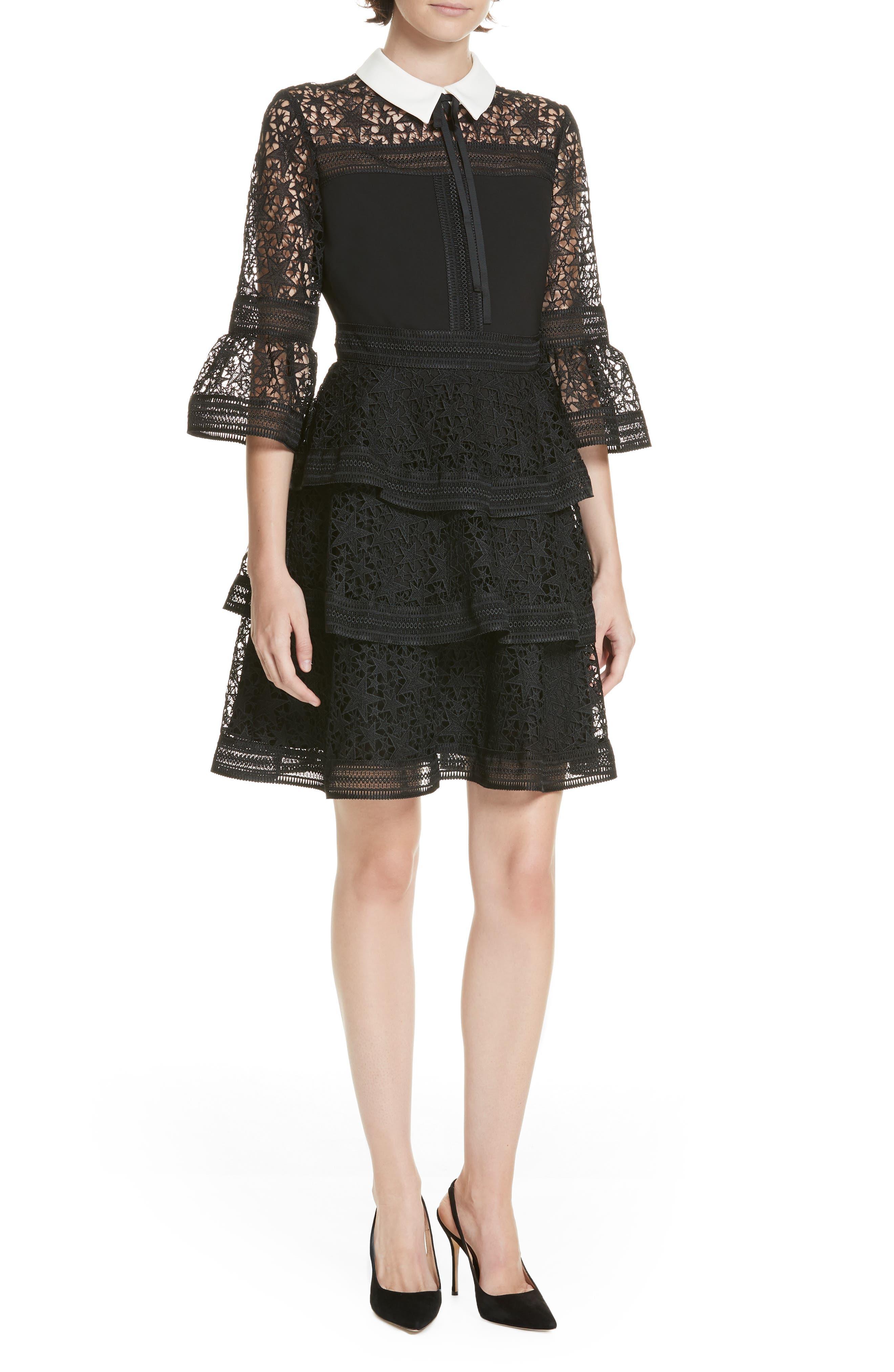 Star Lace Ruffle Dress,                         Main,                         color, BLACK