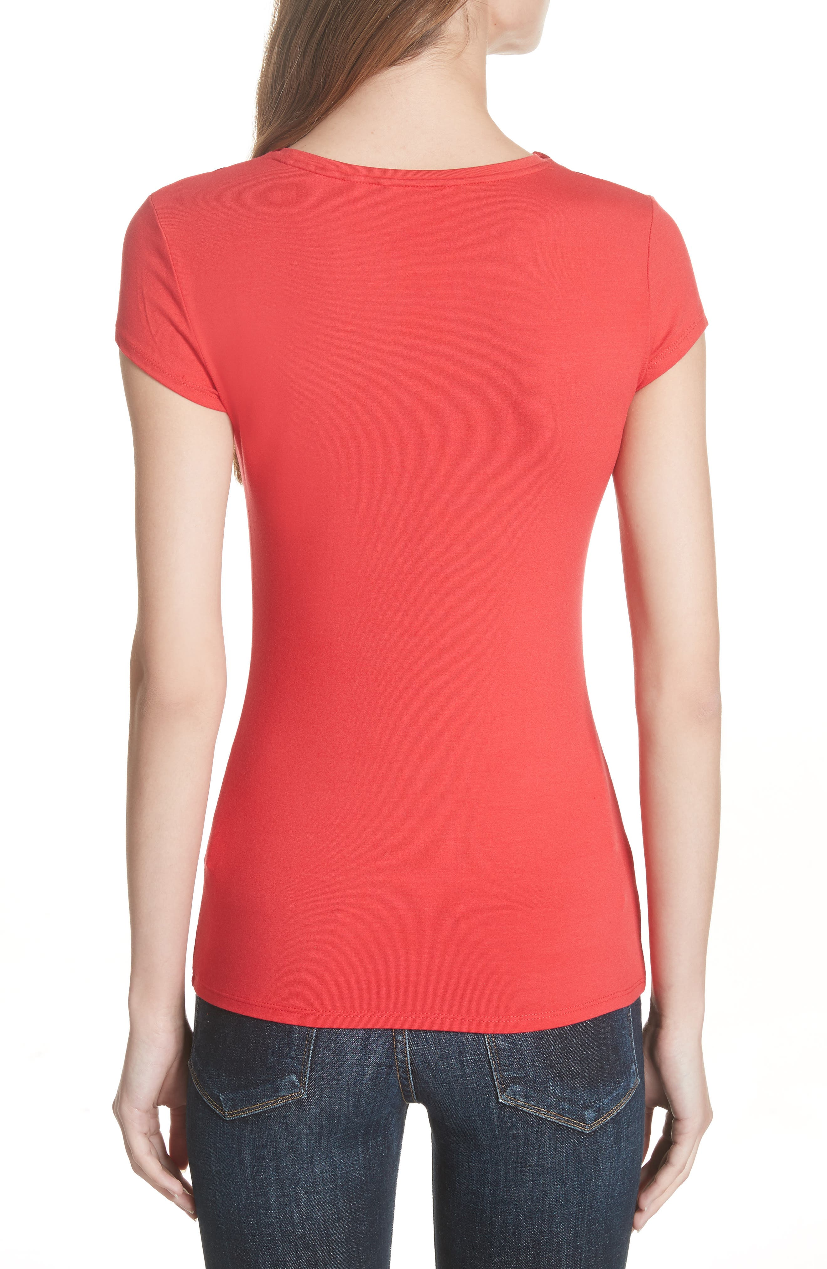 Charre Bow Neck Tee,                             Alternate thumbnail 2, color,                             611