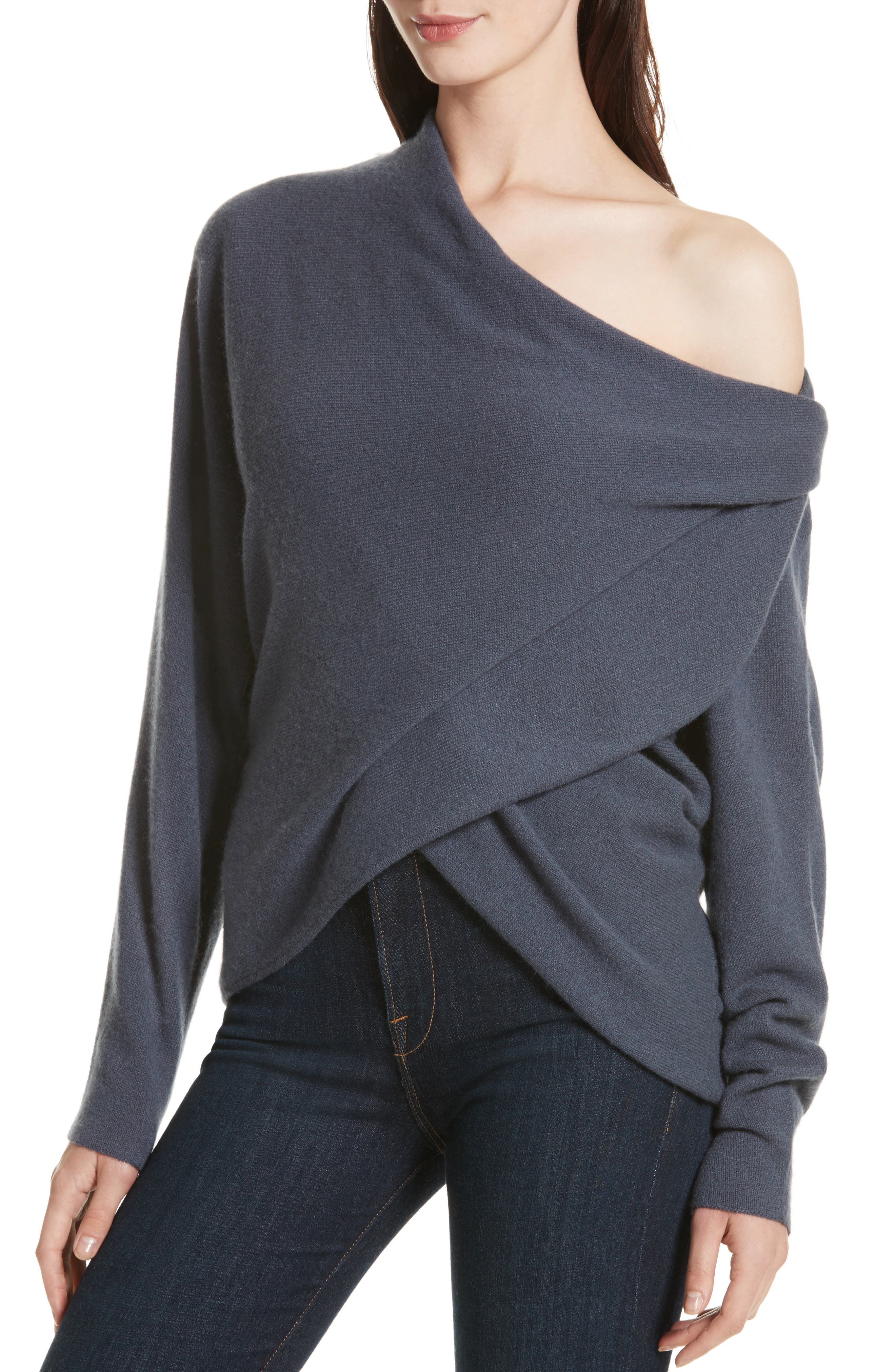 Clea Cashmere Off-Shoulder Sweater,                             Alternate thumbnail 4, color,                             410