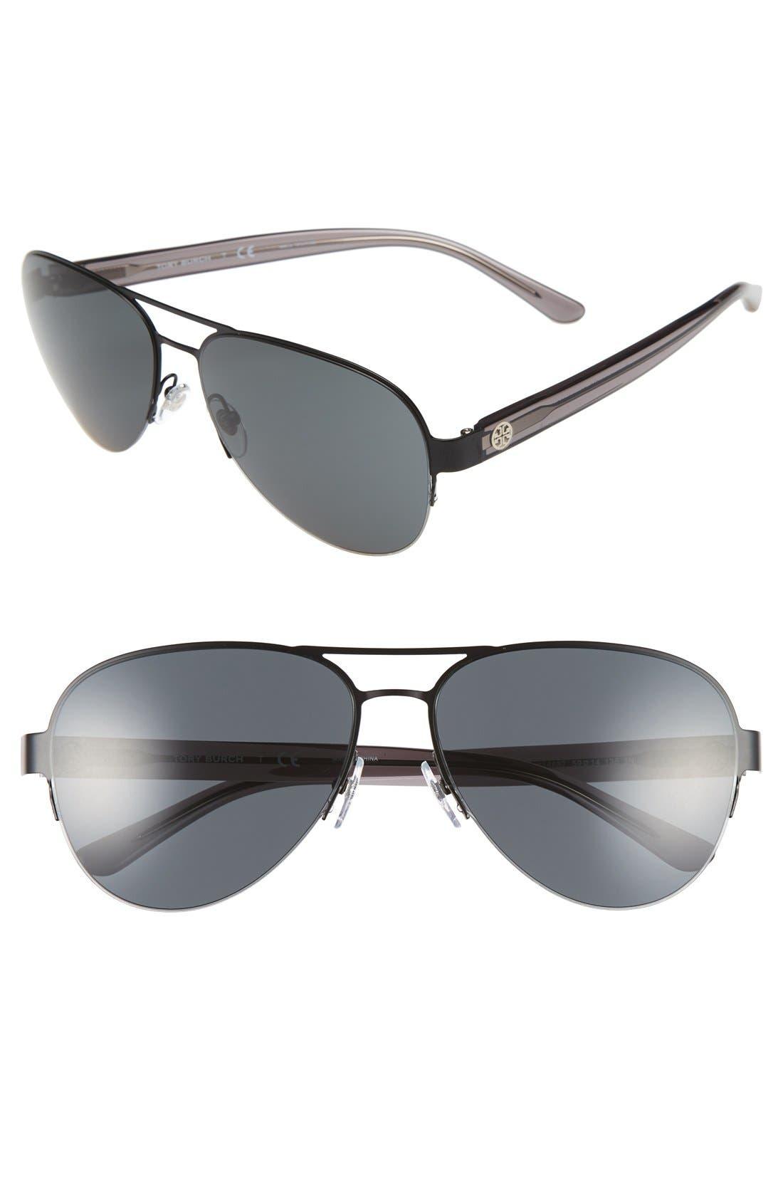 59mm Aviator Sunglasses,                             Main thumbnail 1, color,                             001