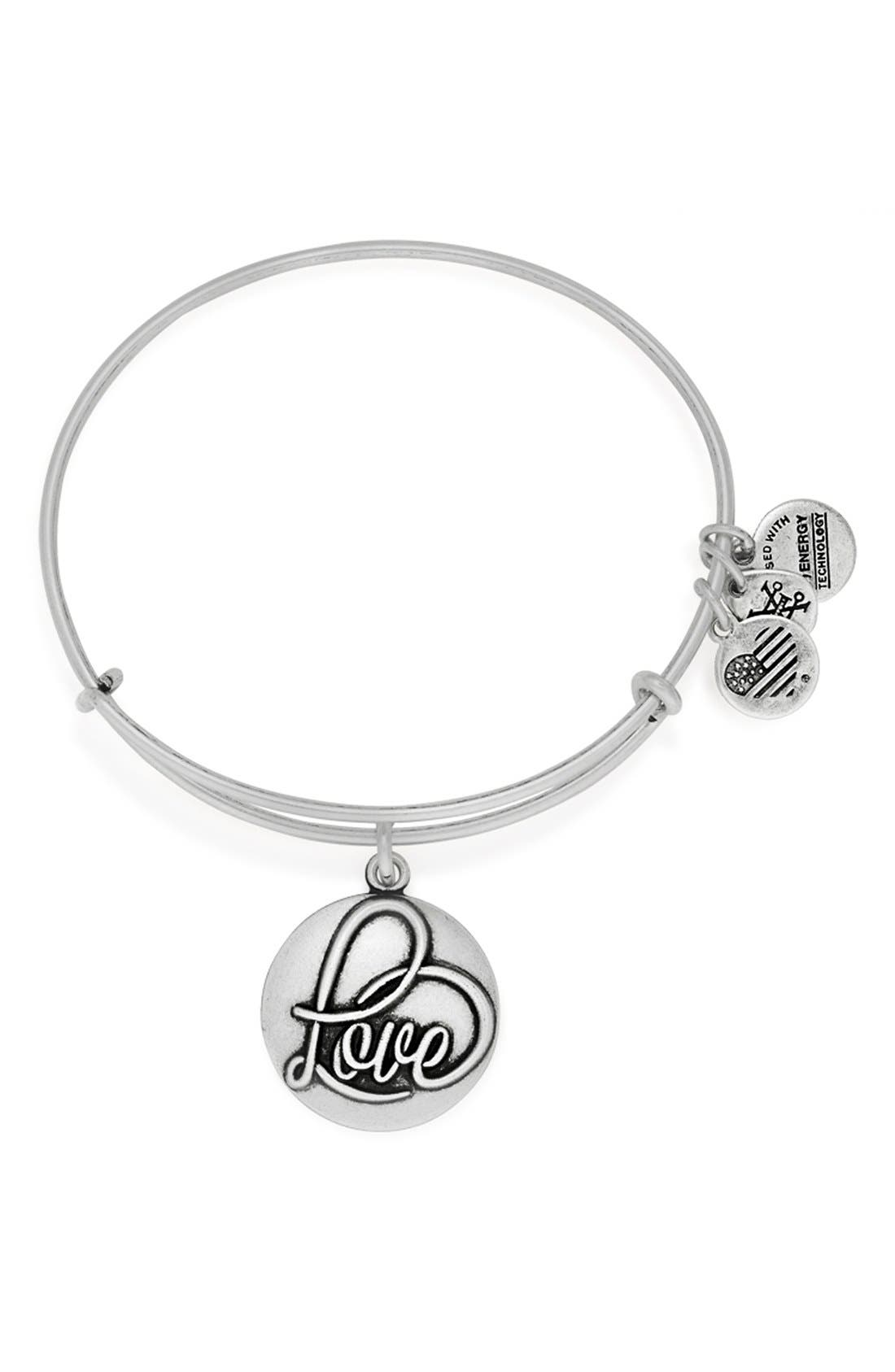 'Love' Expandable Wire Bangle, Main, color, 040