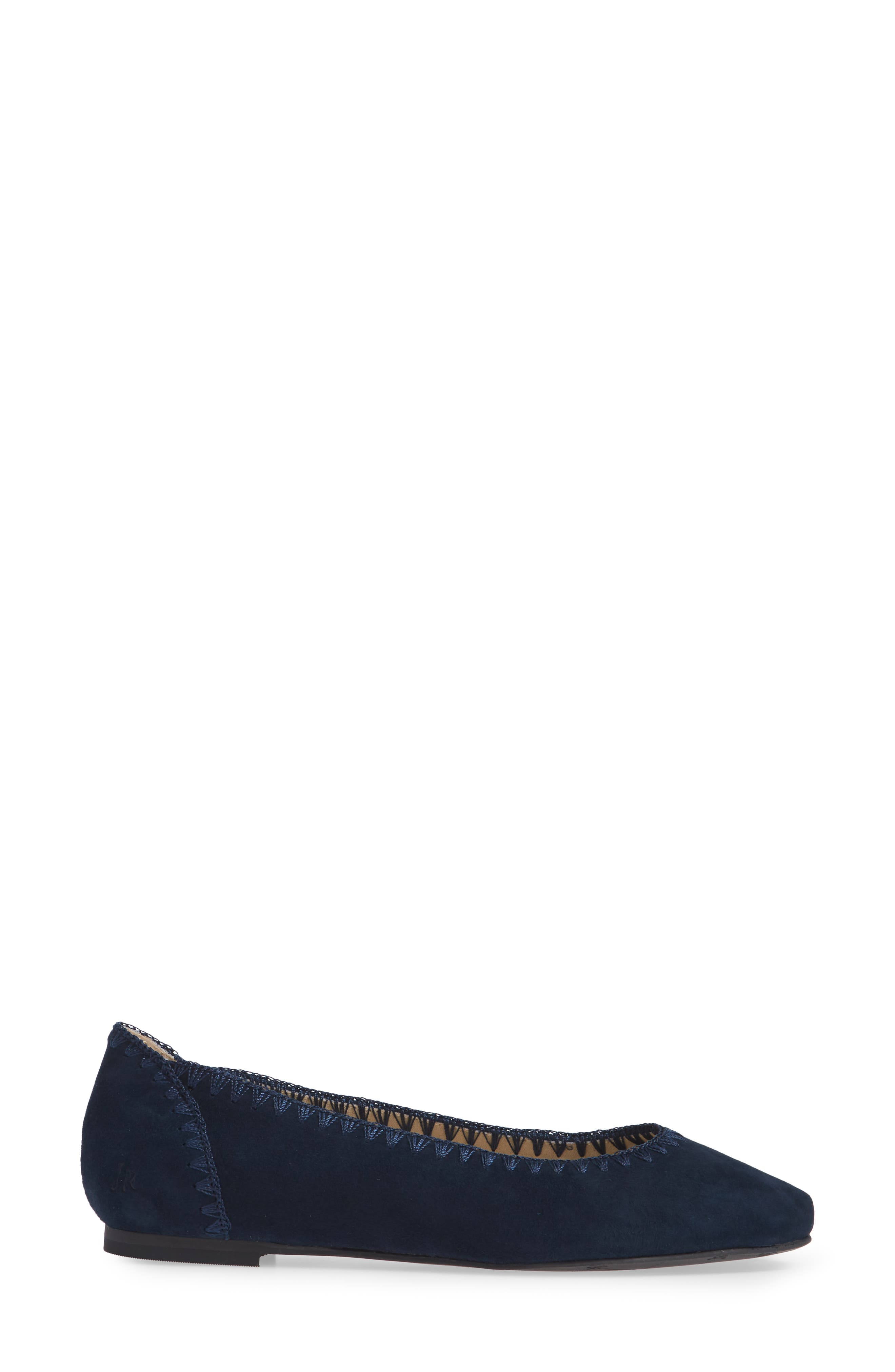 Ellie II Flat,                             Alternate thumbnail 3, color,                             MIDNIGHT BLUE SUEDE