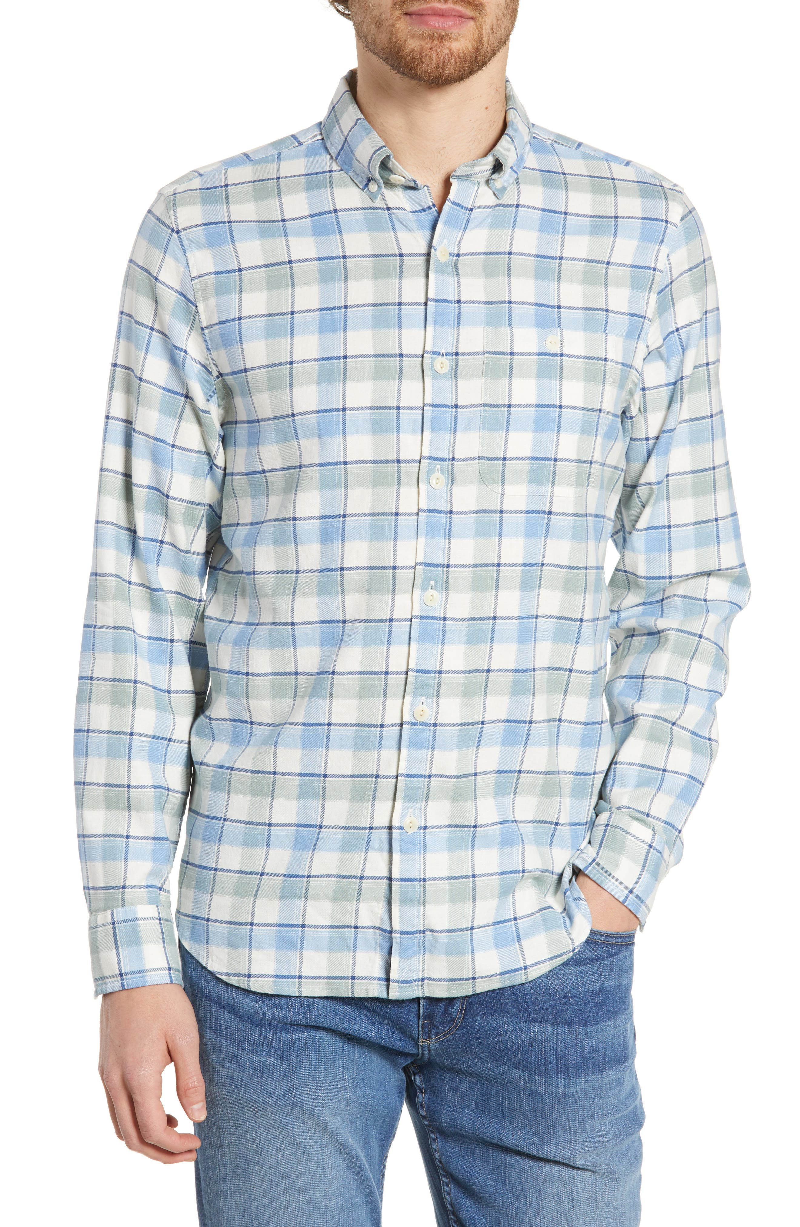 VINEYARD VINES Bayside Slim Fit Plaid Sport Shirt, Main, color, LIGHT SAGE