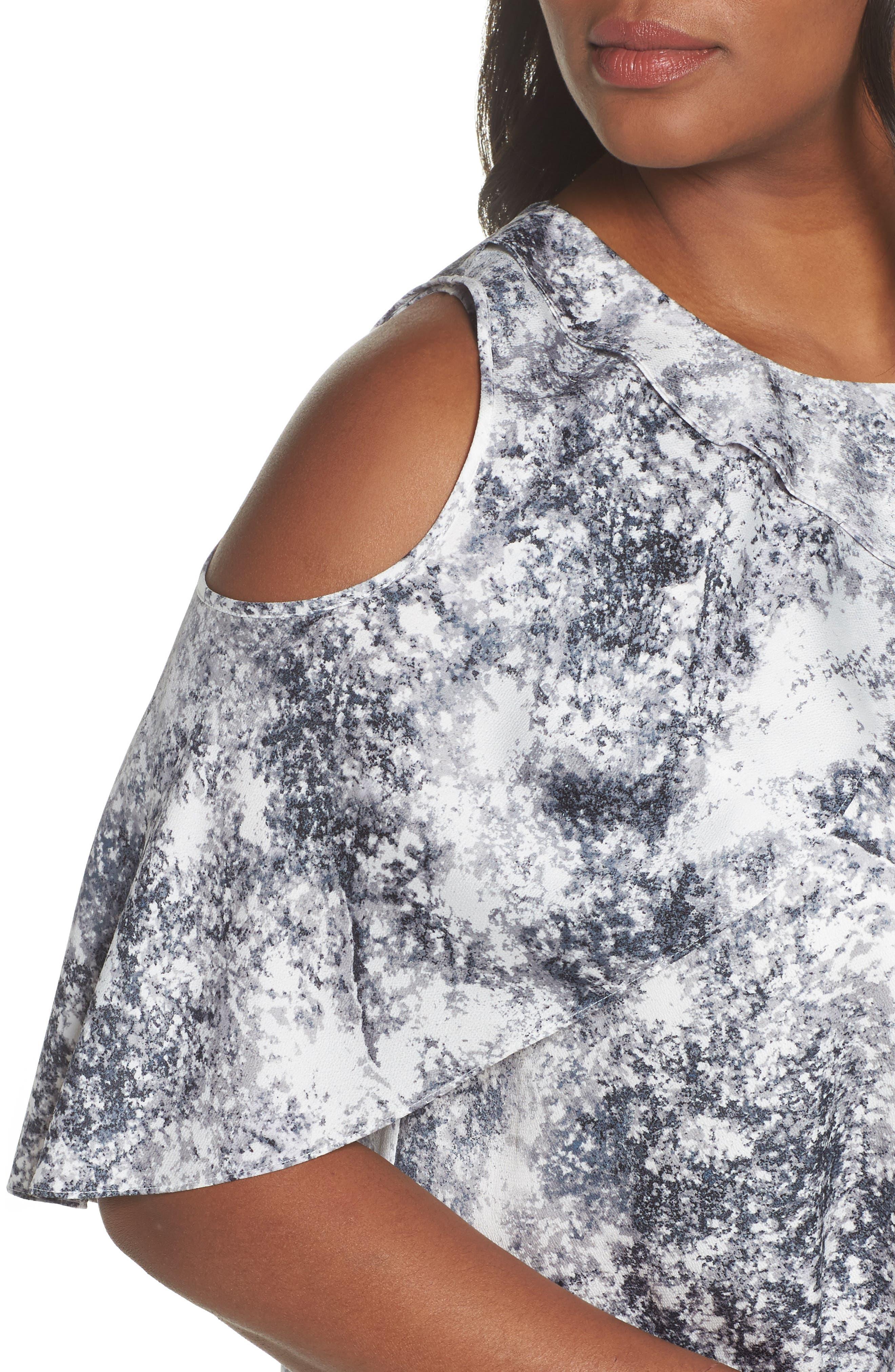Cold Shoulder Speckled Print Top,                             Alternate thumbnail 4, color,