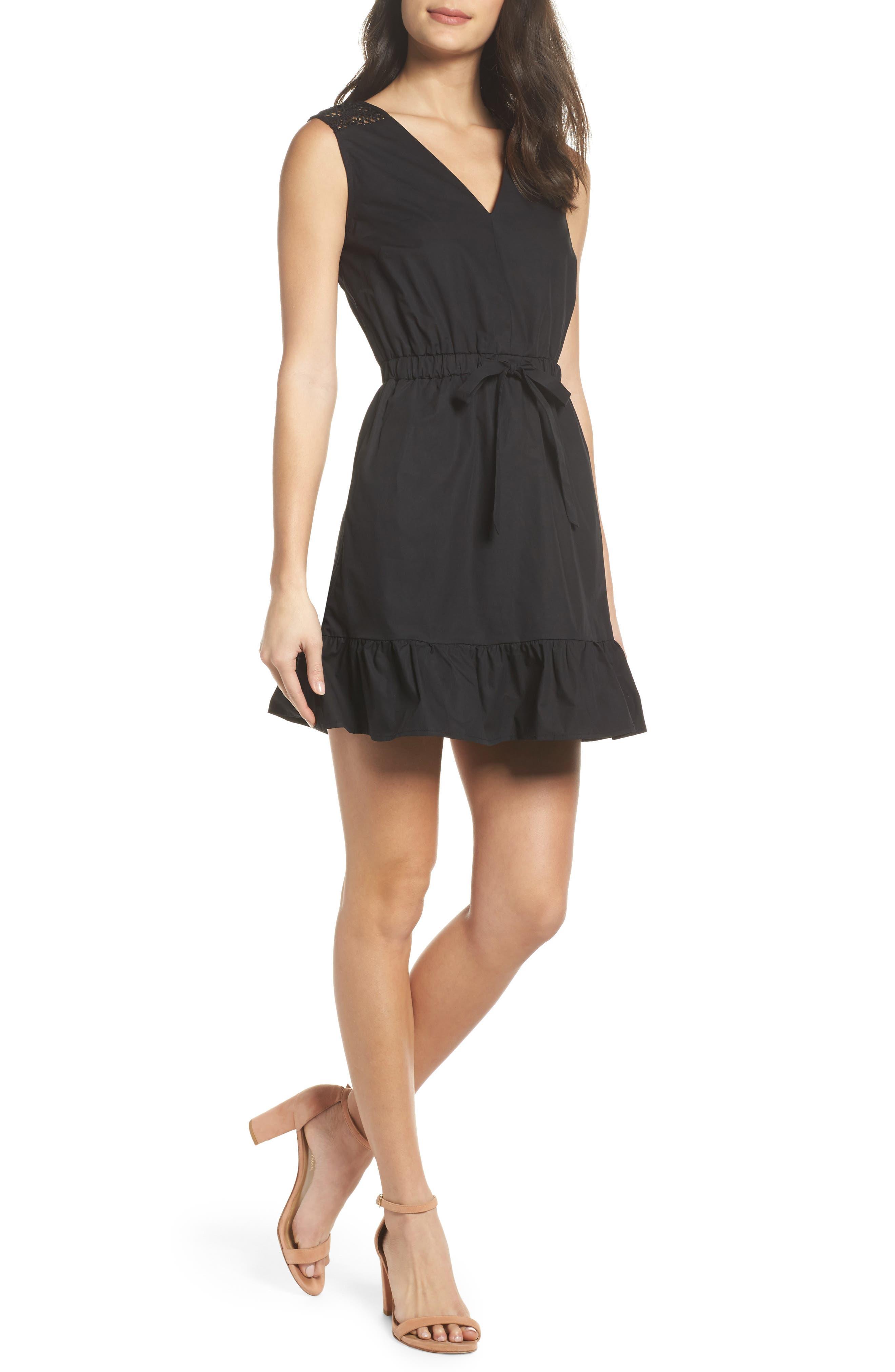 Leah Lace Trim A-Line Dress,                             Main thumbnail 1, color,                             001