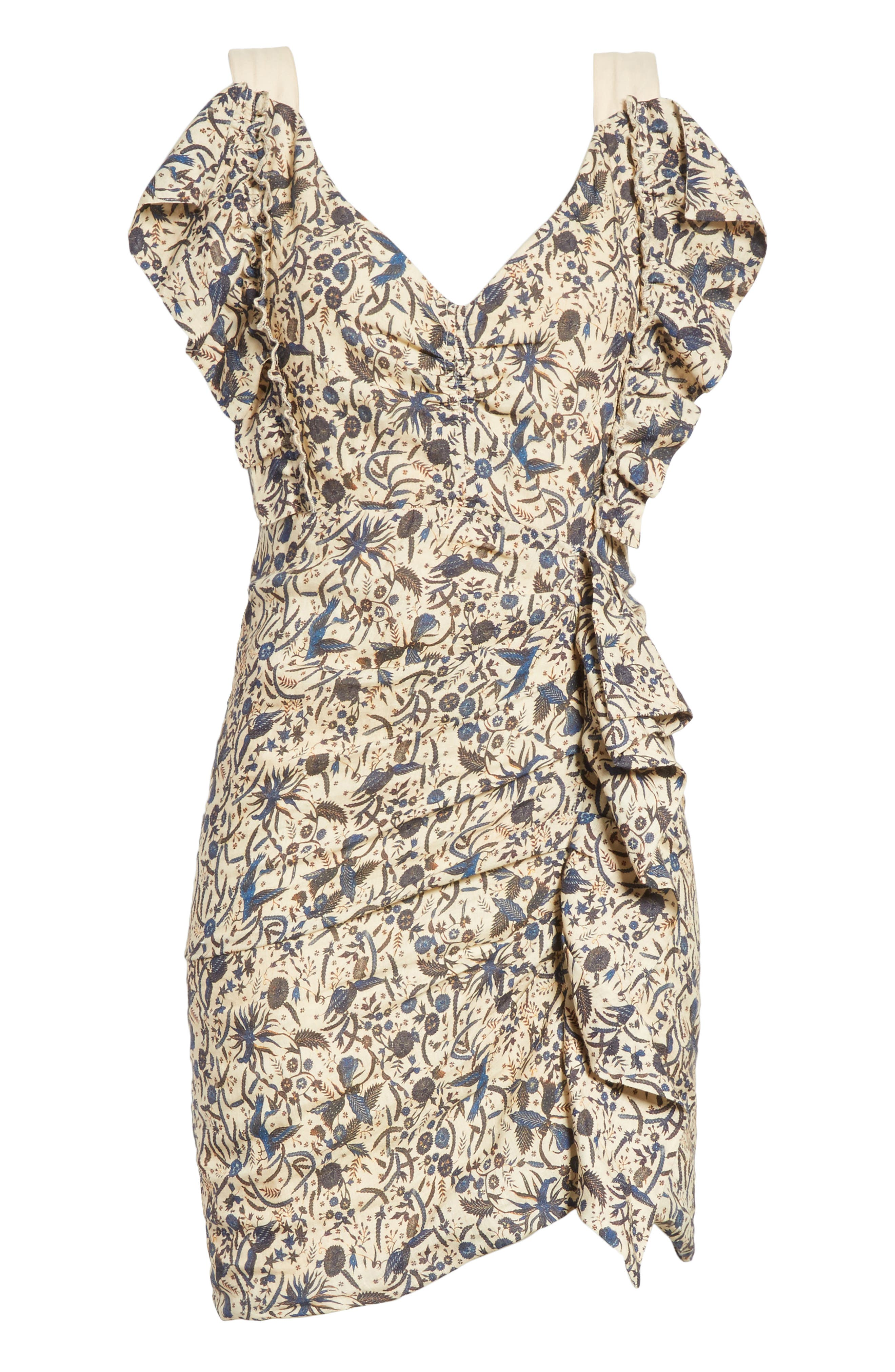 Topaz Print Linen Dress,                             Alternate thumbnail 6, color,                             250