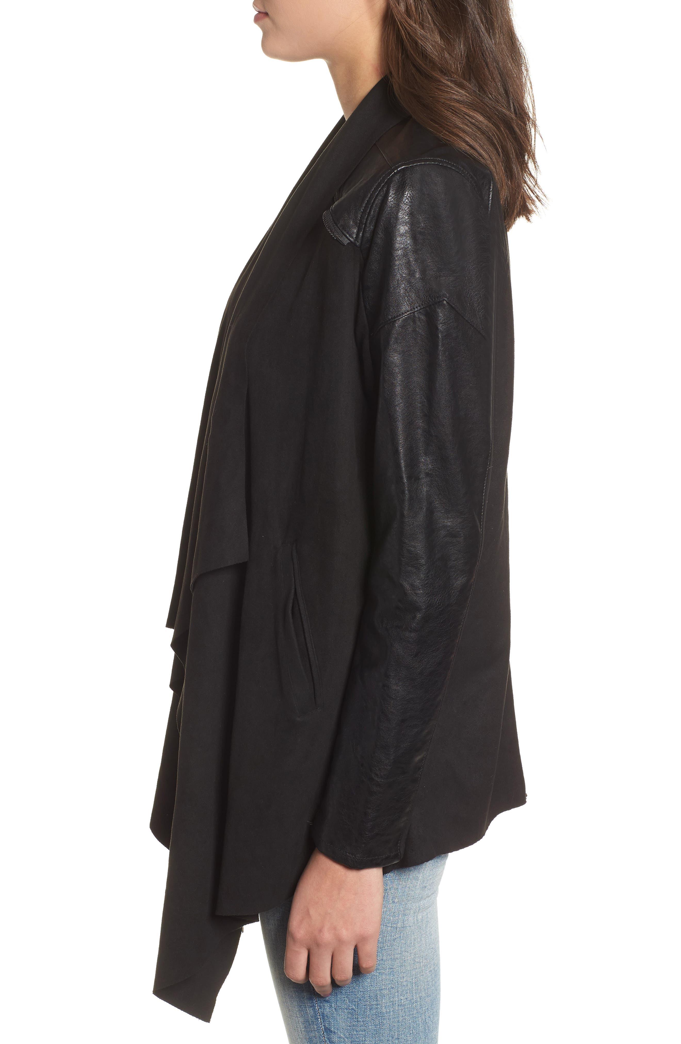 BLANKNYC,                             Drape Front Jacket,                             Alternate thumbnail 4, color,                             INK