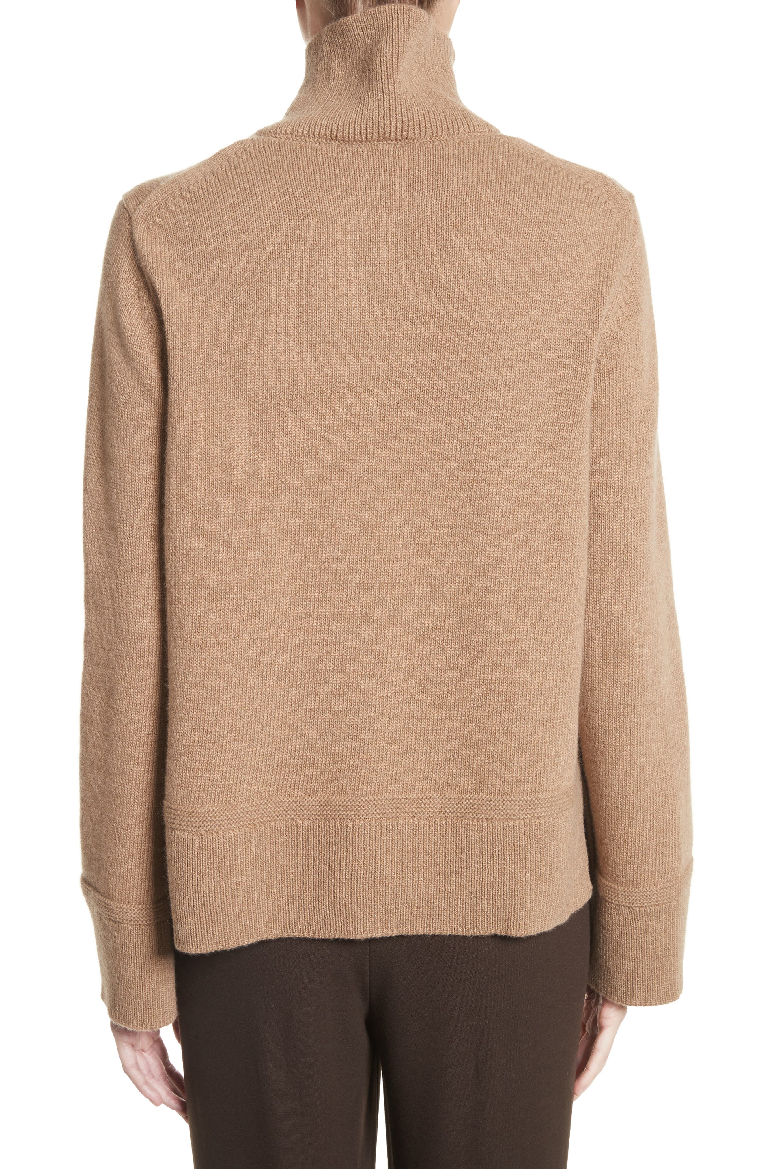 Suede Zip Detail Wool & Cashmere Crop Sweater,                             Alternate thumbnail 2, color,                             207