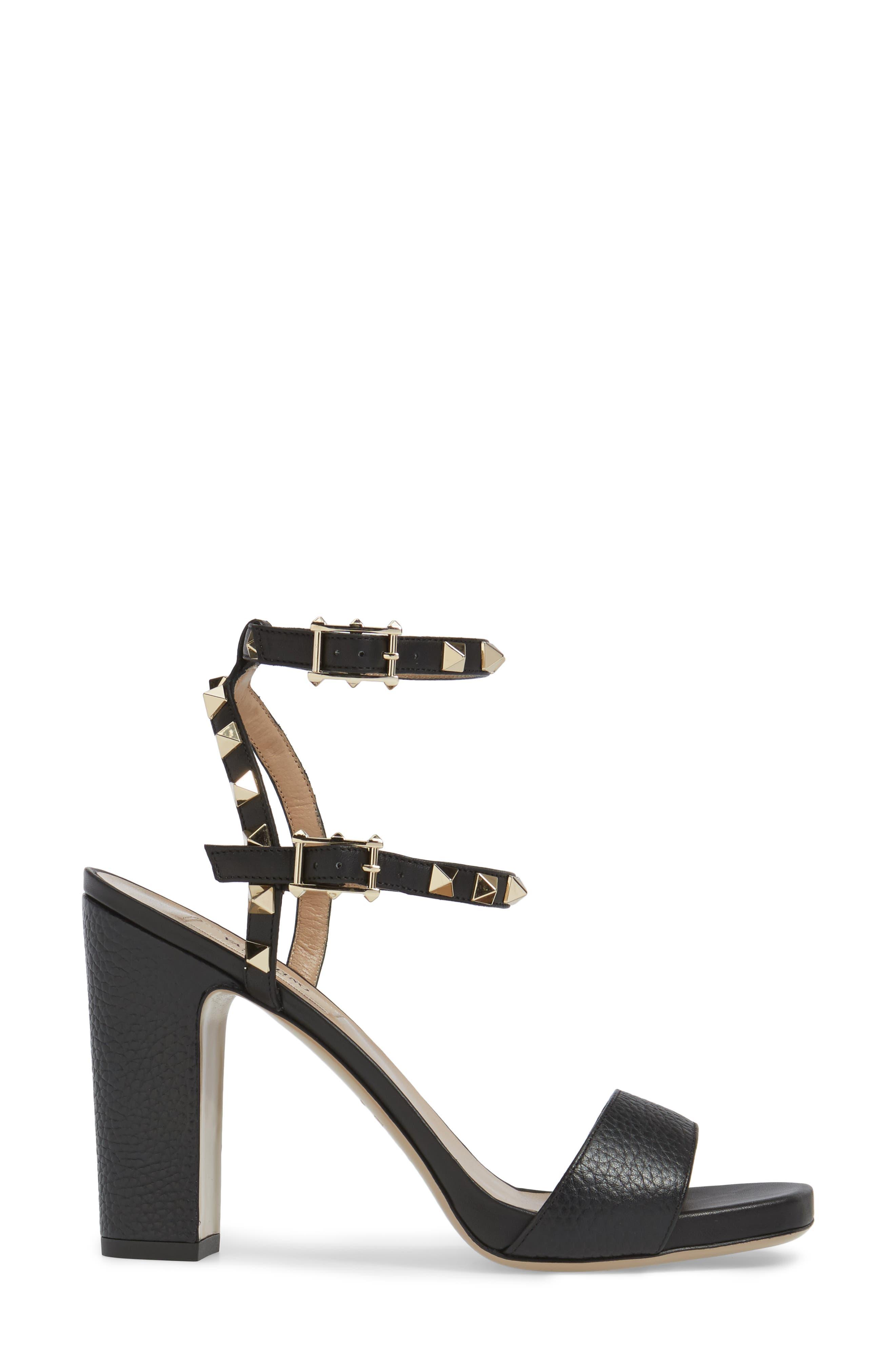 Rockstud Ankle Strap Sandal,                             Alternate thumbnail 3, color,                             BLACK