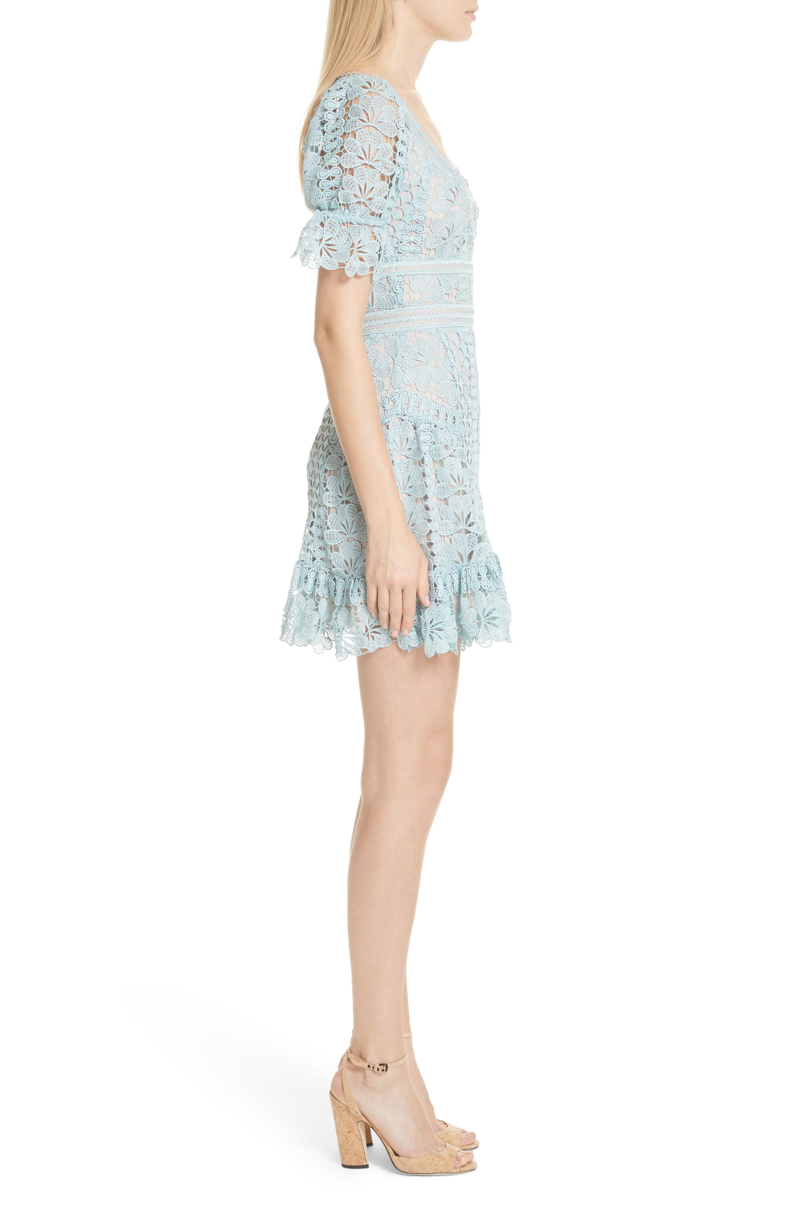 Puff Sleeve Guipure Lace Dress,                             Alternate thumbnail 3, color,