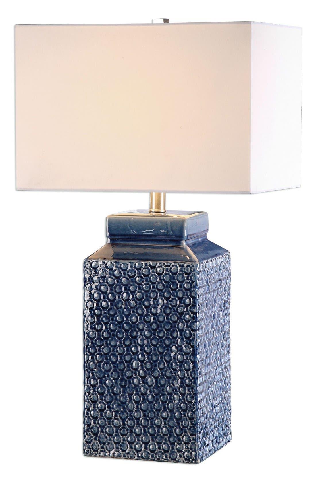 'Sapphire' Glazed Ceramic Table Lamp,                             Main thumbnail 1, color,                             BLUE
