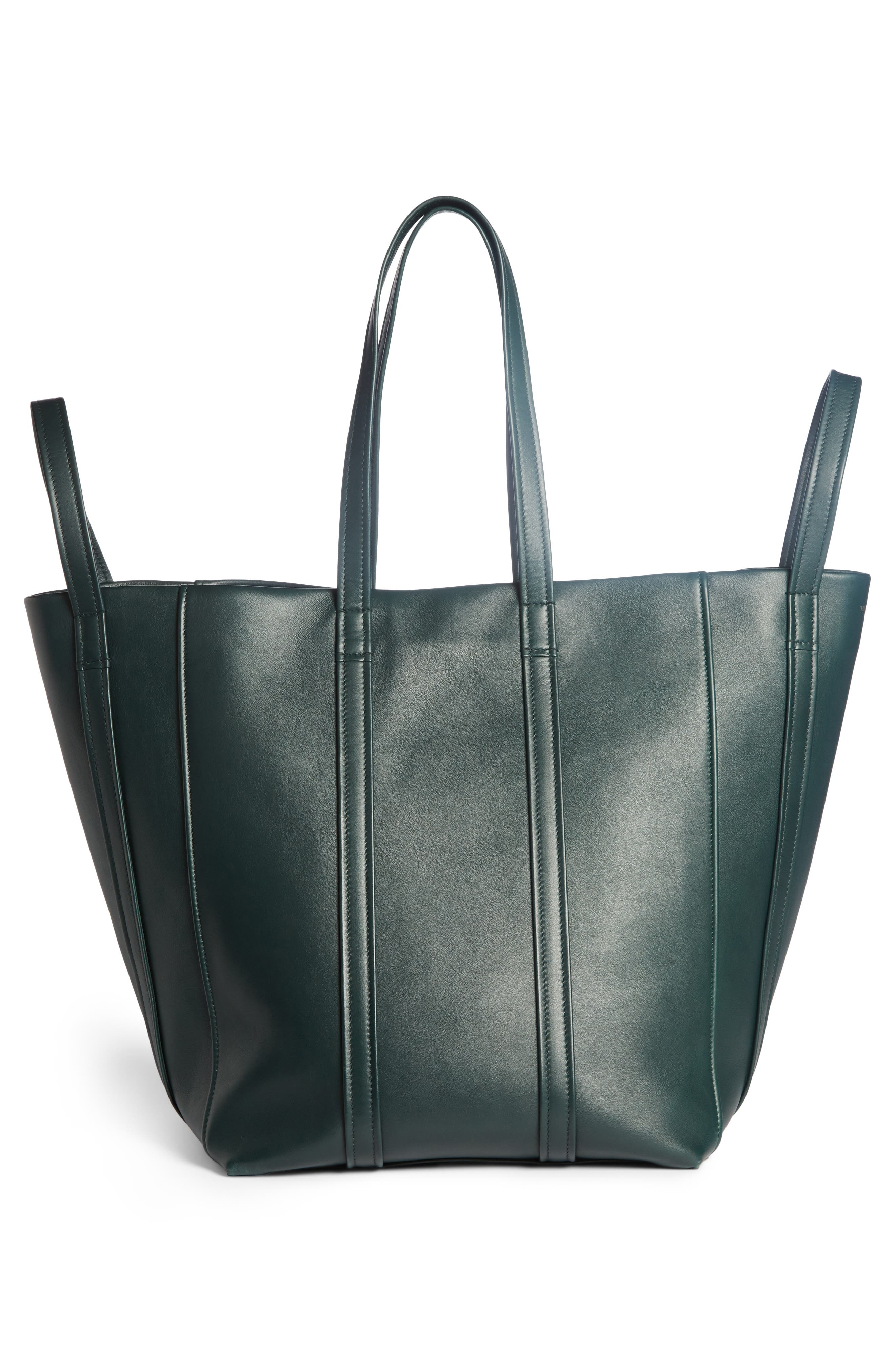 Large Laundry Cabas Calfskin Tote,                             Alternate thumbnail 2, color,                             VERT CYPRES
