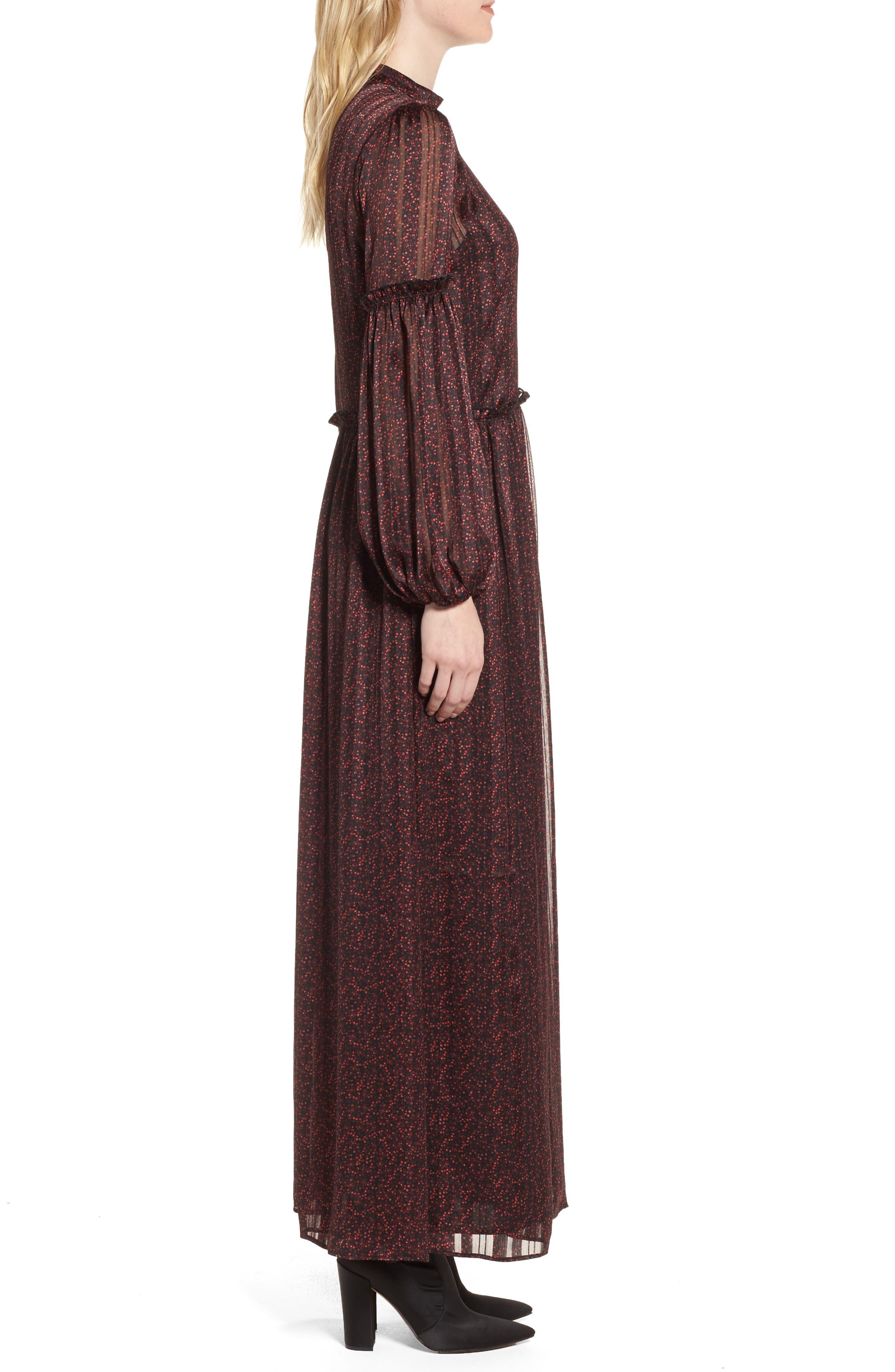 Print Long Dress,                             Alternate thumbnail 3, color,                             600