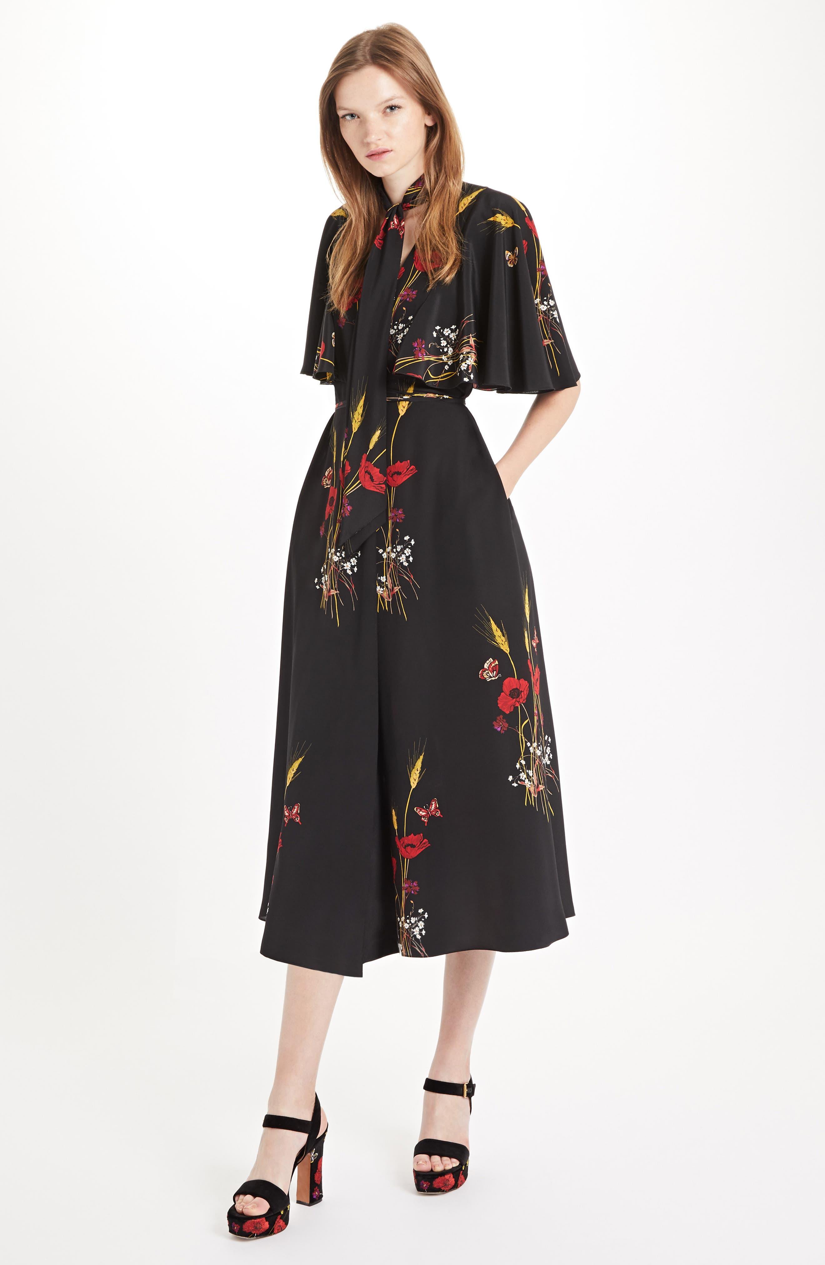 Floral Meadow Print Crêpe de Chine Faux Wrap Dress,                             Alternate thumbnail 6, color,                             BLACK/ MULTI COLOR