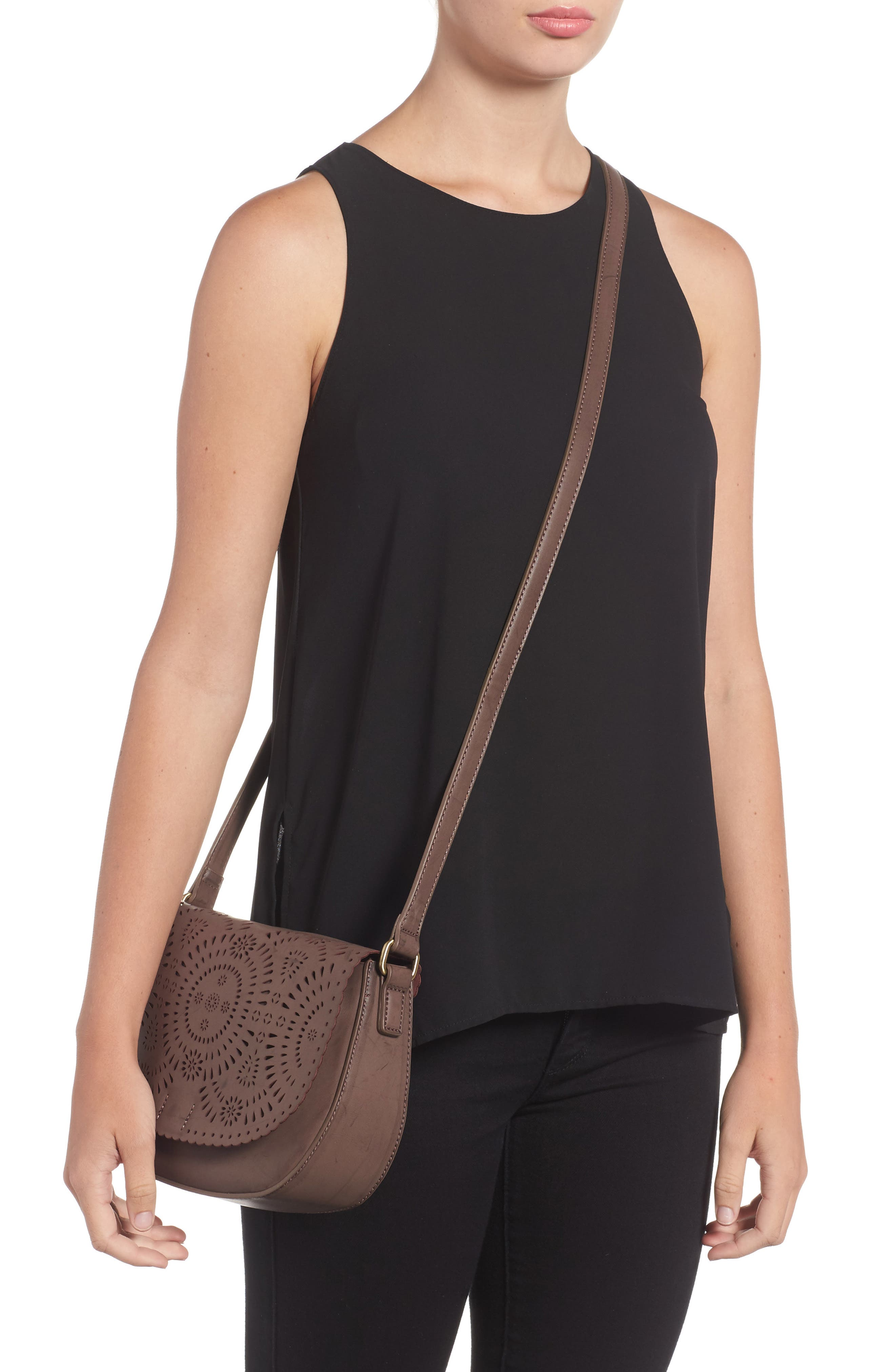 Dakota Faux Leather Saddle Bag,                             Alternate thumbnail 2, color,                             022