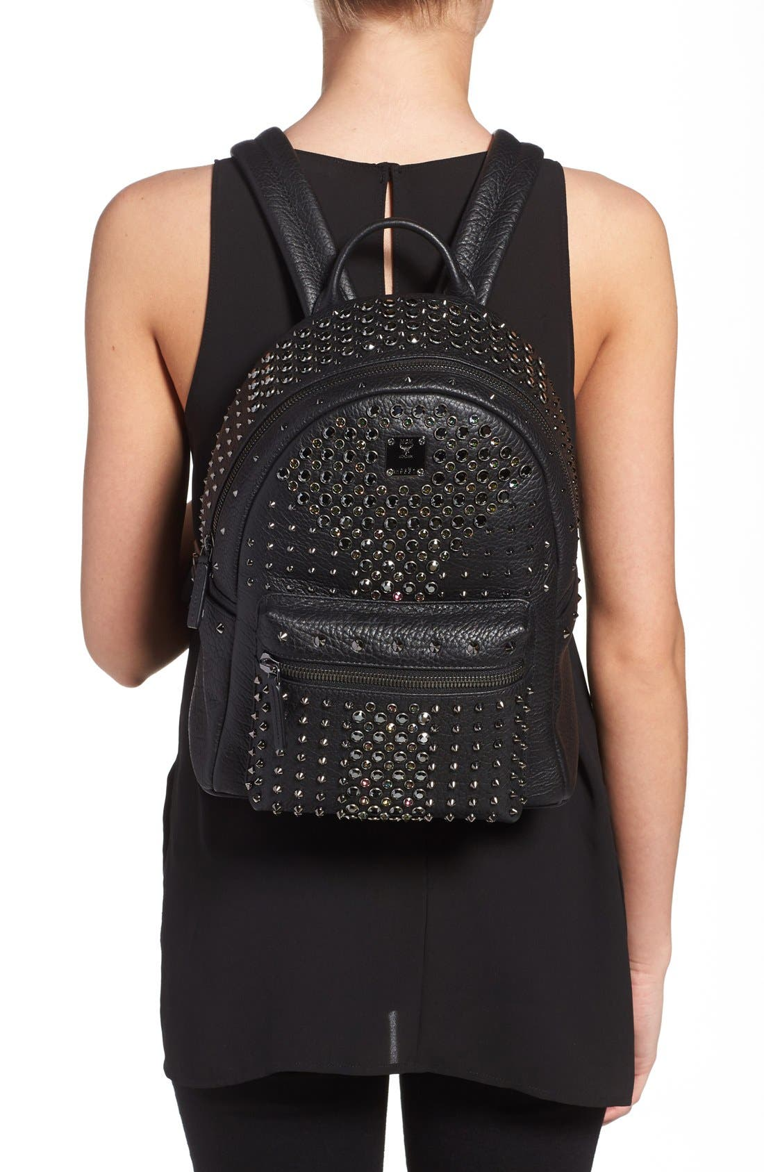 'Small Stark Special' Swarovski Crystal Embellished Leather Backpack,                             Alternate thumbnail 2, color,                             001
