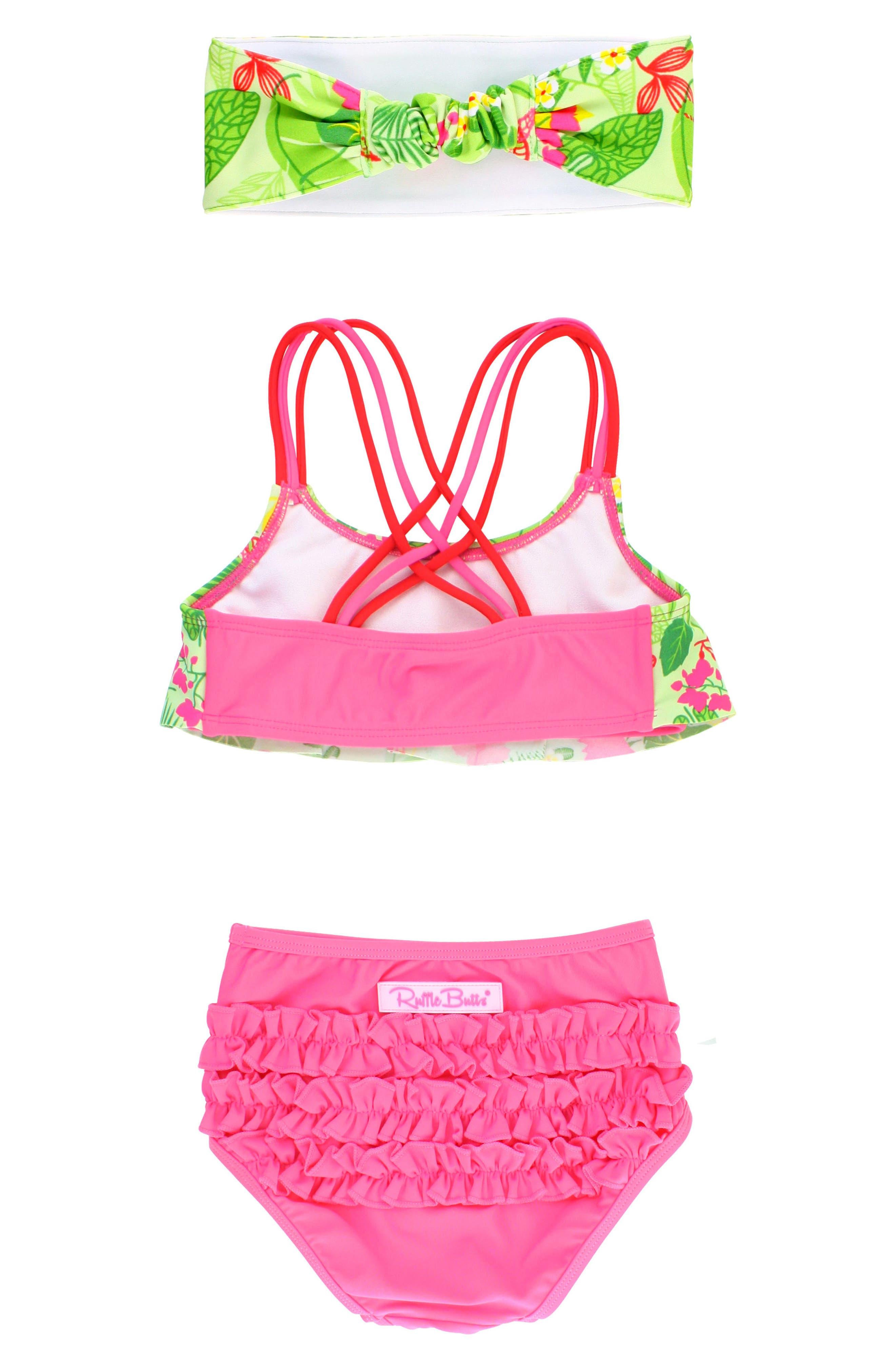 Tropical Two-Piece Swimsuit & Headband Set,                             Alternate thumbnail 3, color,                             320