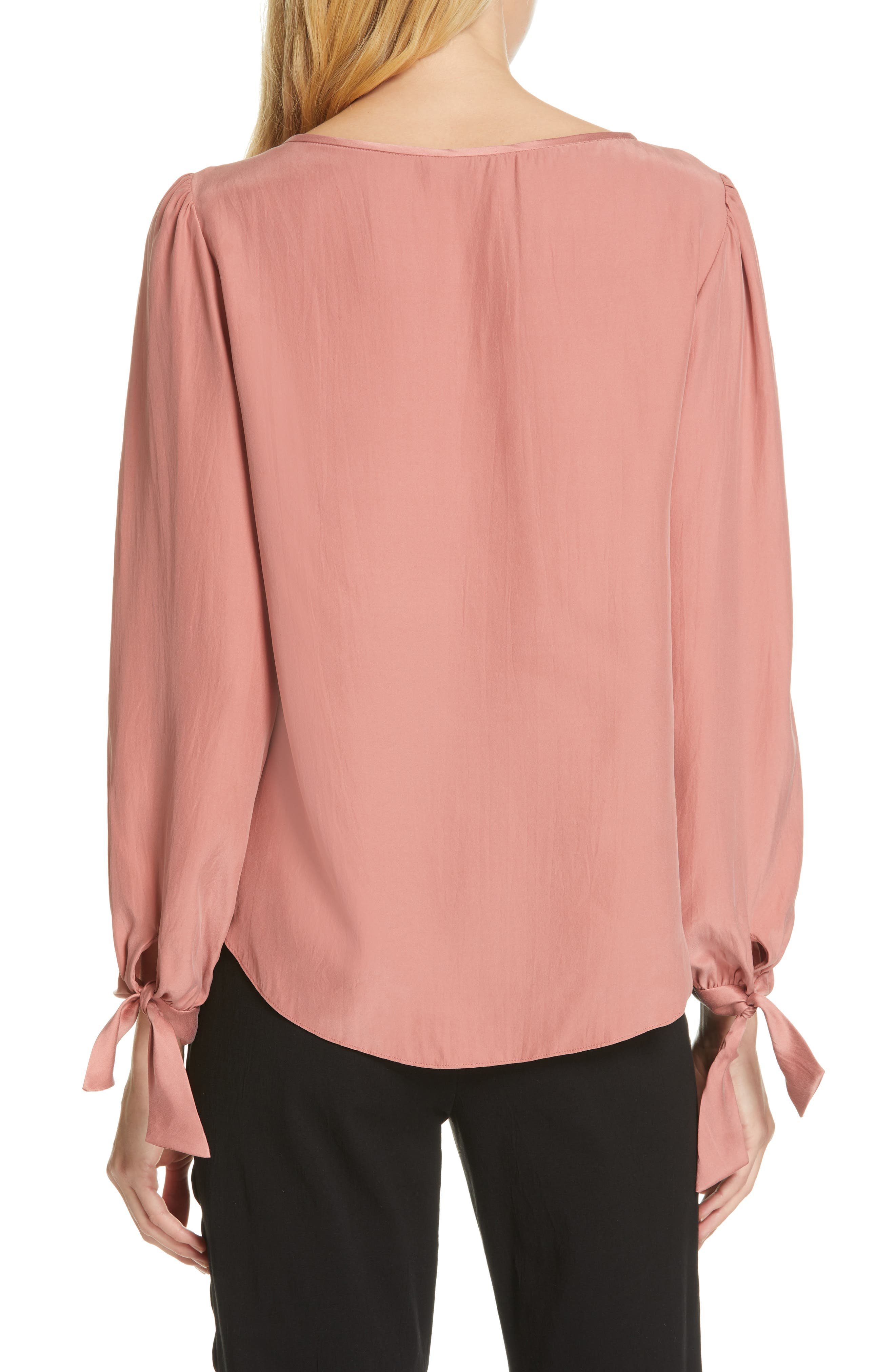 TAILORED BY REBECCA TAYLOR,                             Sleeve Tie Silk Charmeuse Top,                             Alternate thumbnail 2, color,                             LIPGLOSS