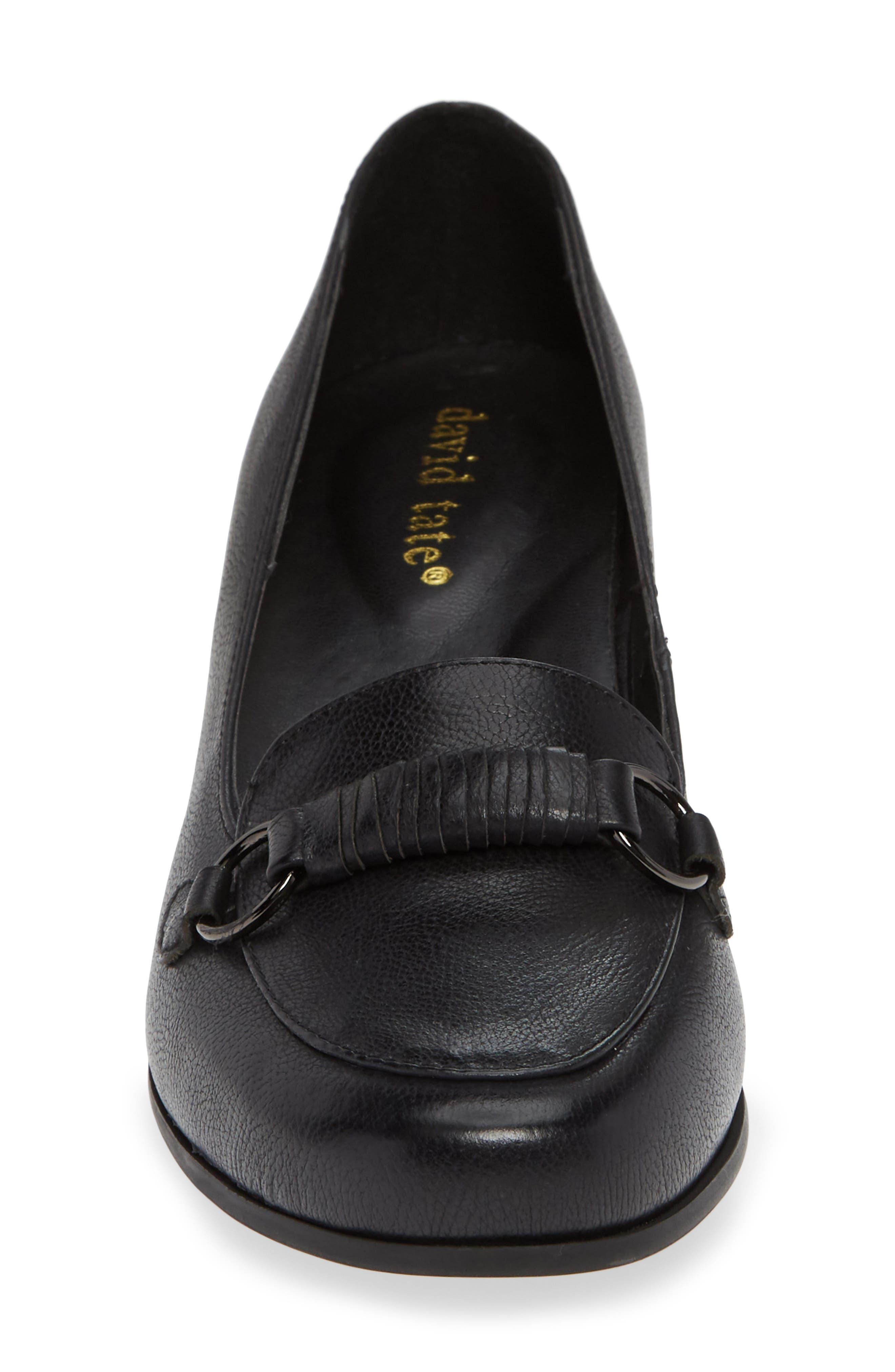 Perky Loafer Pump,                             Alternate thumbnail 4, color,                             BLACK LEATHER