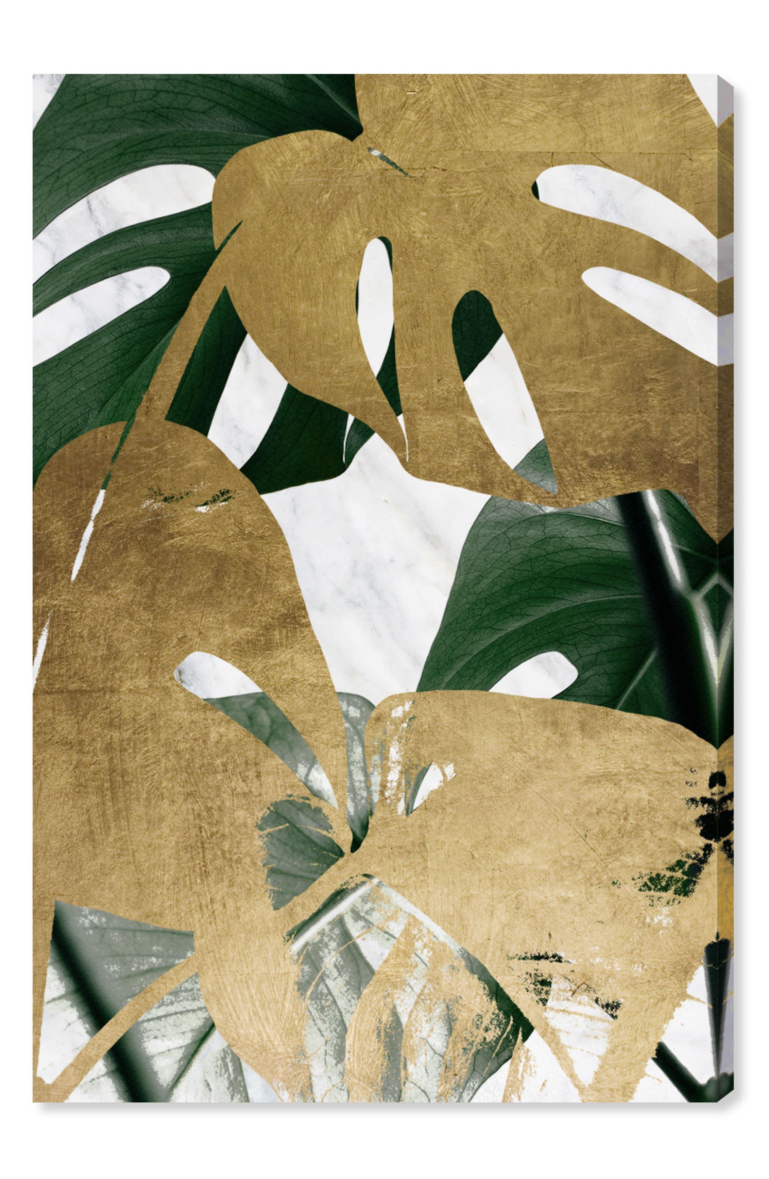 Golden Plants Canvas Wall Art,                         Main,                         color, GREEN