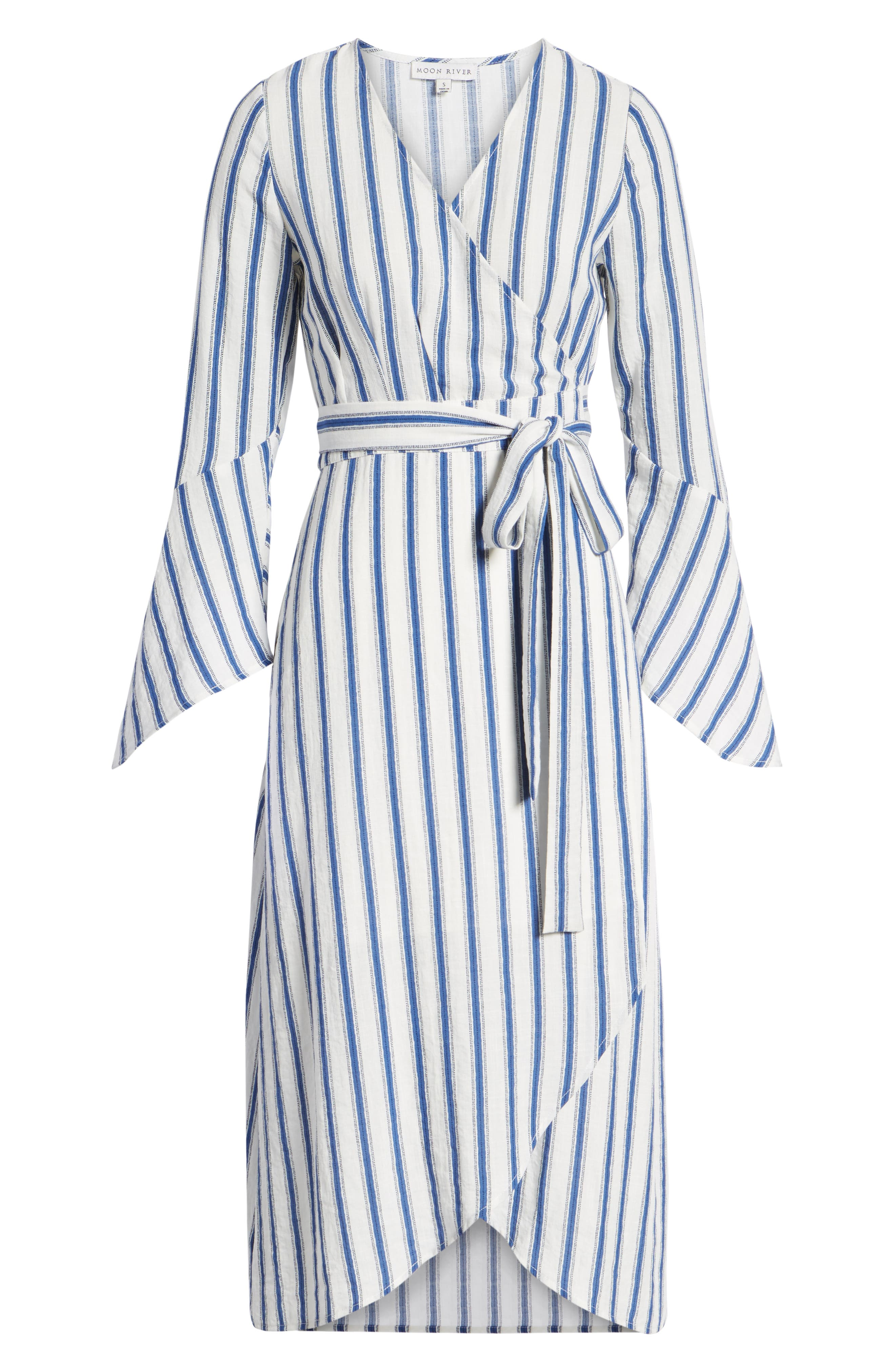 Stripe Flared Sleeve Wrap Dress,                             Alternate thumbnail 7, color,                             400