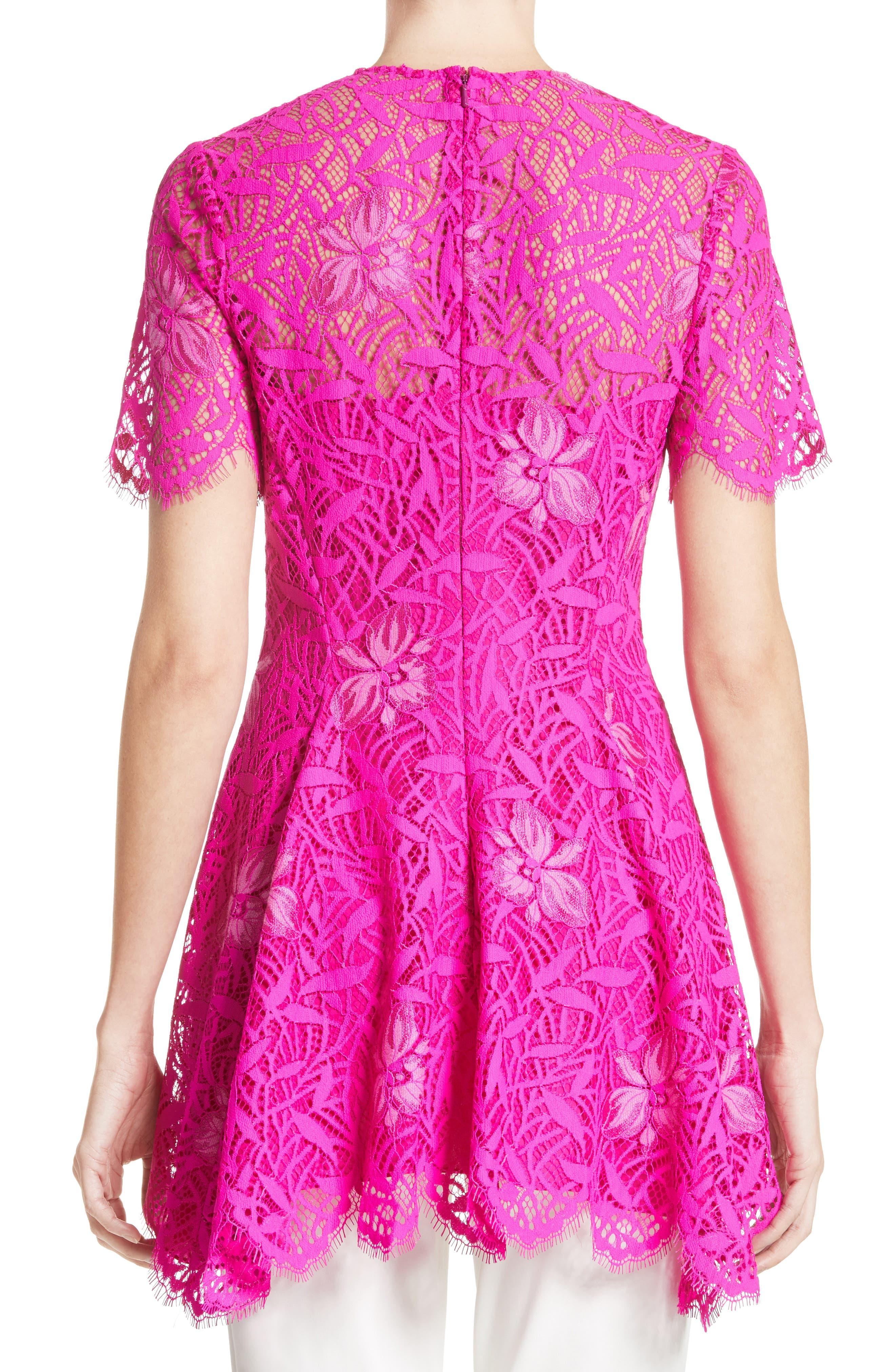 Floral Lace Peplum Top,                             Alternate thumbnail 2, color,