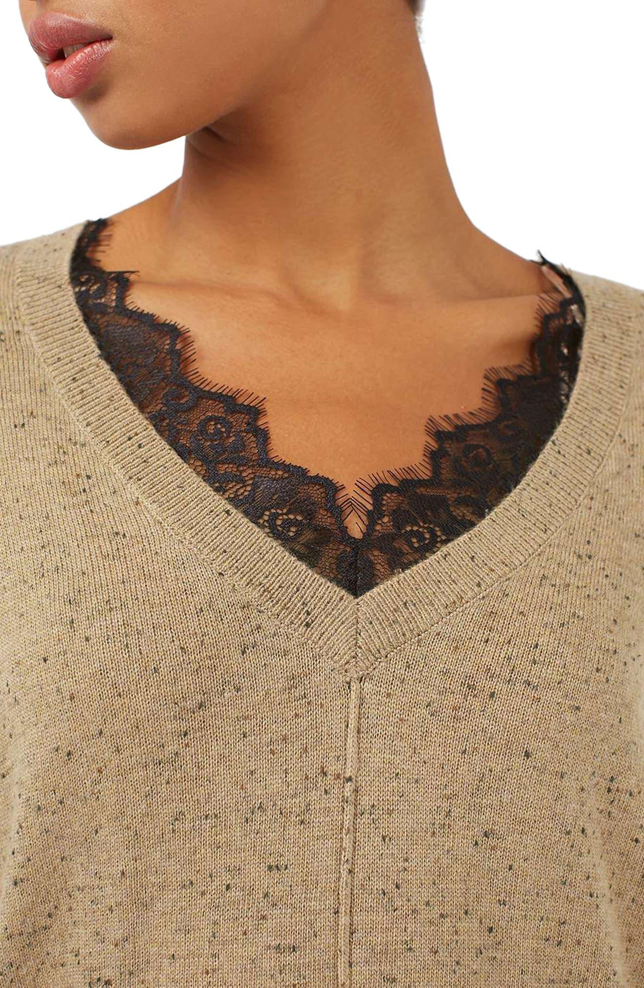 Lace V-Neck Sweater Tunic,                             Alternate thumbnail 5, color,                             230