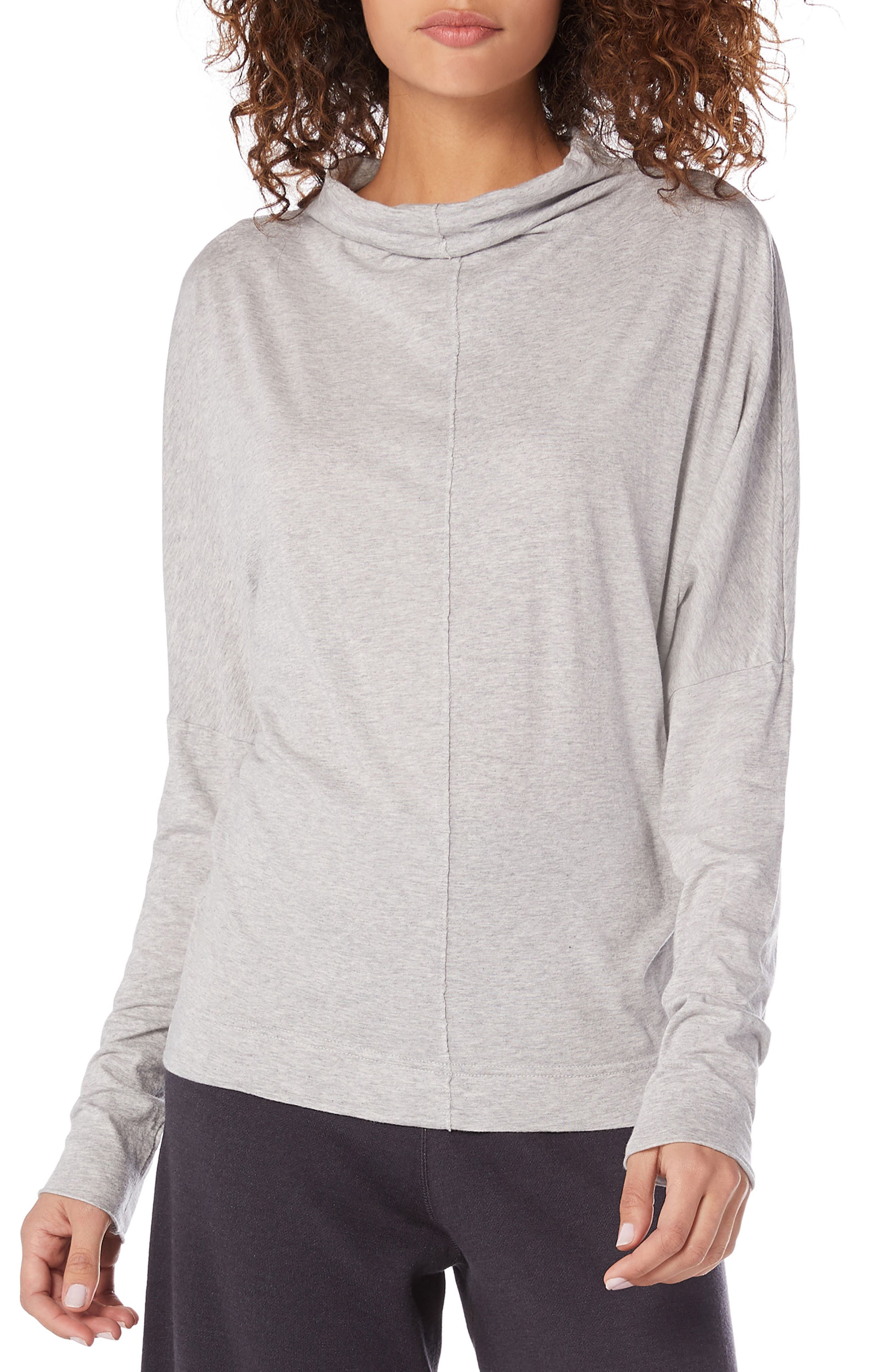 Ultra Jersey Open Neck Top,                             Main thumbnail 1, color,                             HEATHER GREY