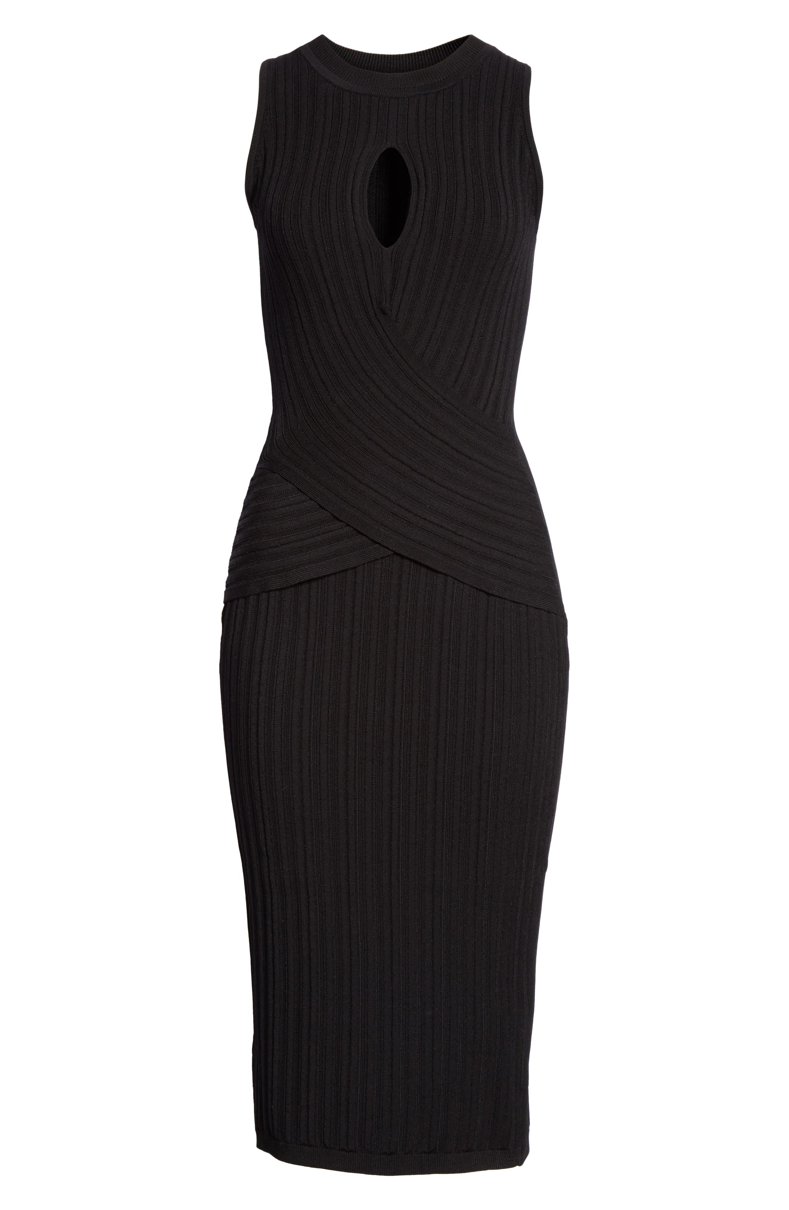CUSHNIE,                             Knit Pencil Dress,                             Alternate thumbnail 7, color,                             BLACK