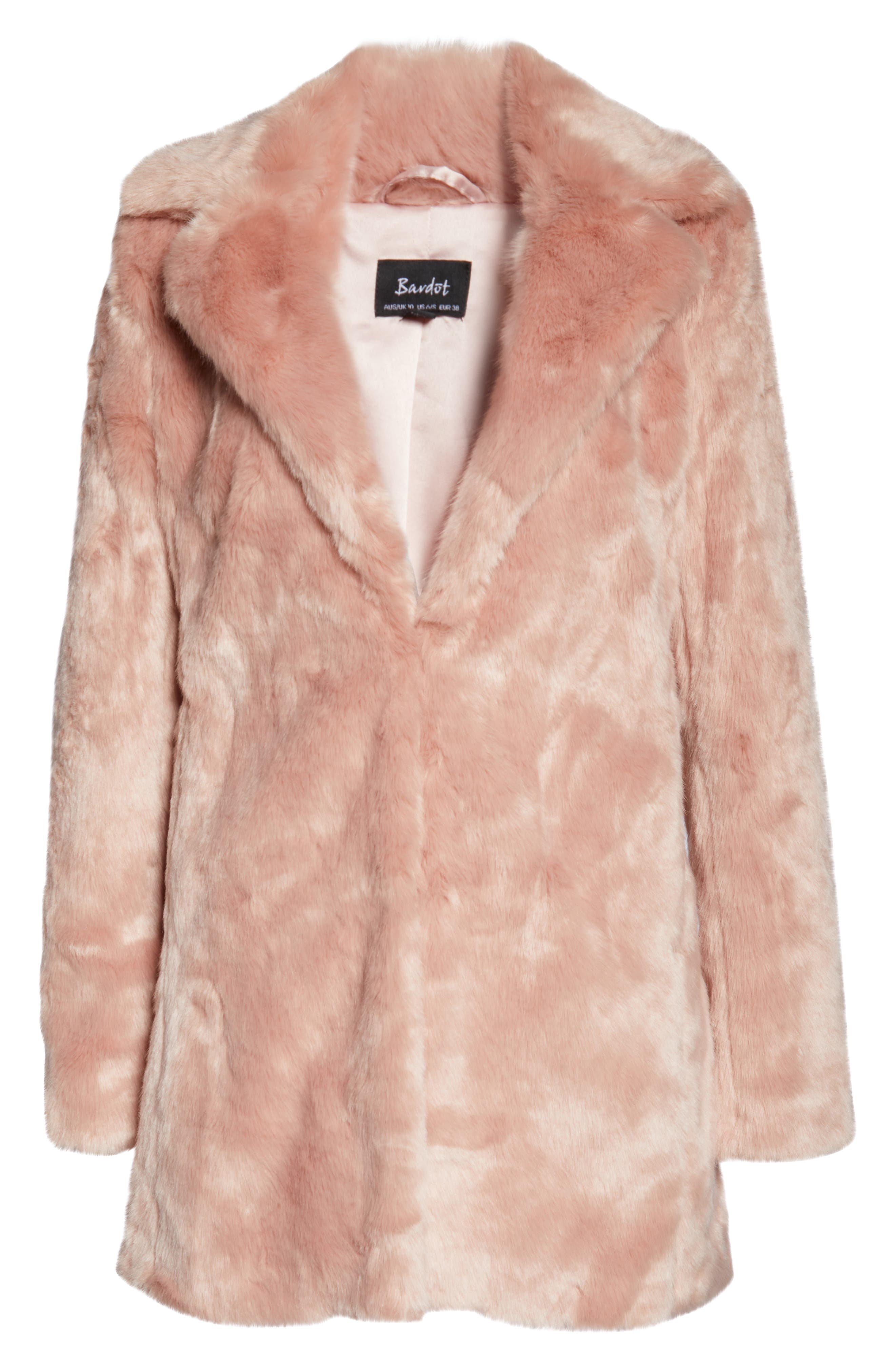 Faux Fur Coat,                             Alternate thumbnail 6, color,                             BLUSH PINK