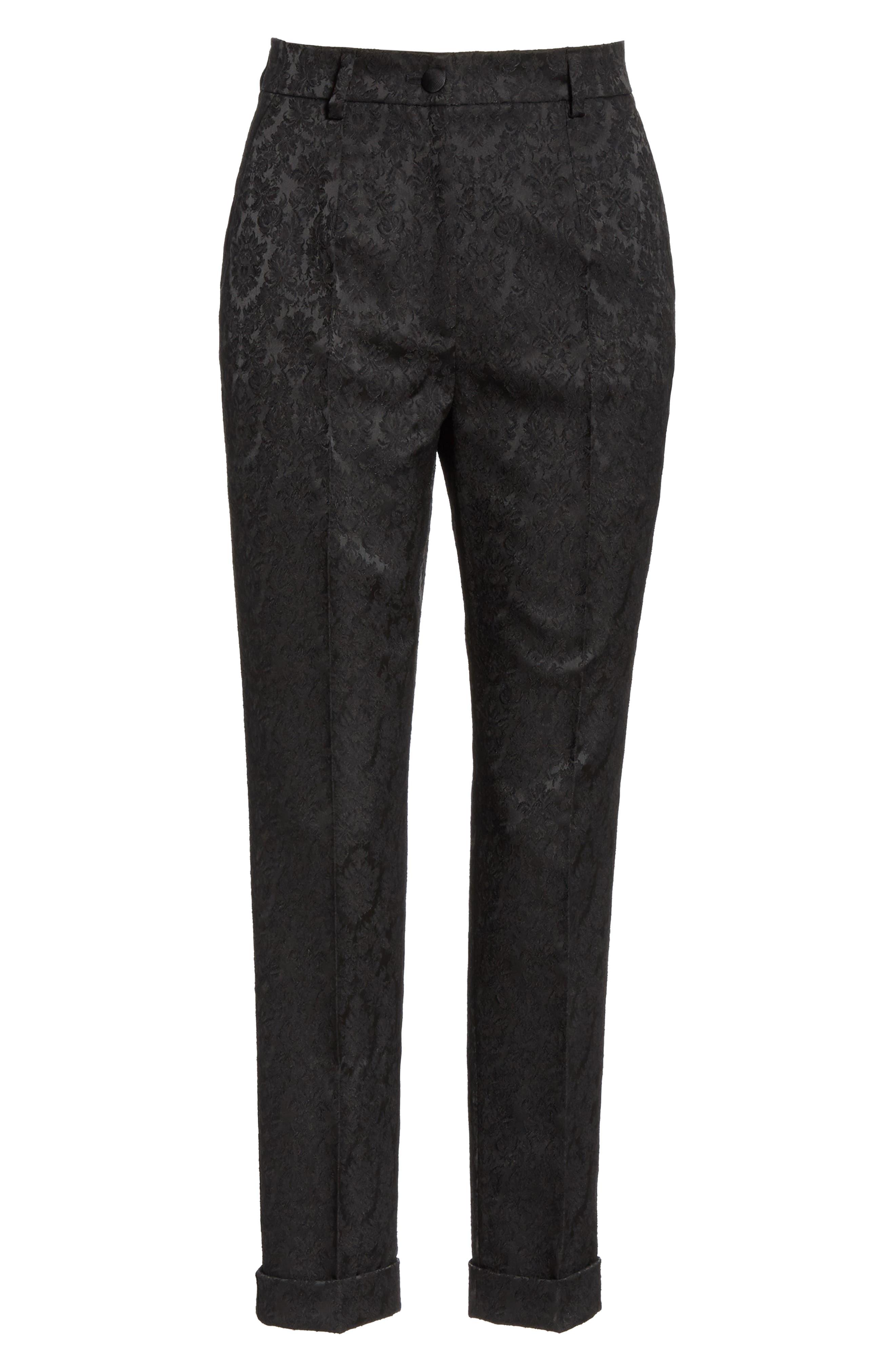 Jacquard Cuff Skinny Pants,                             Alternate thumbnail 6, color,                             N0000 BLACK
