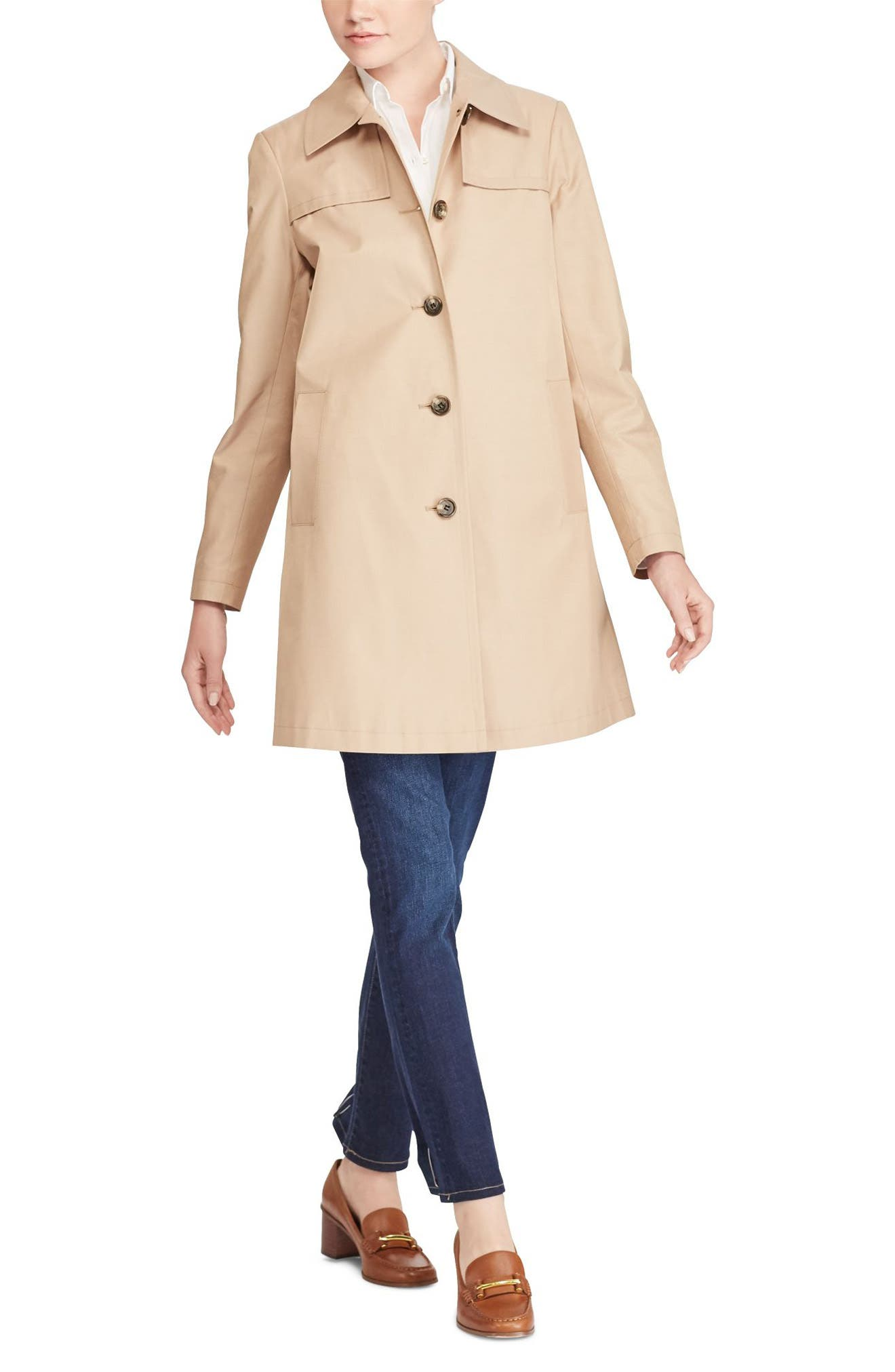 A-Line Trench Coat,                             Alternate thumbnail 8, color,