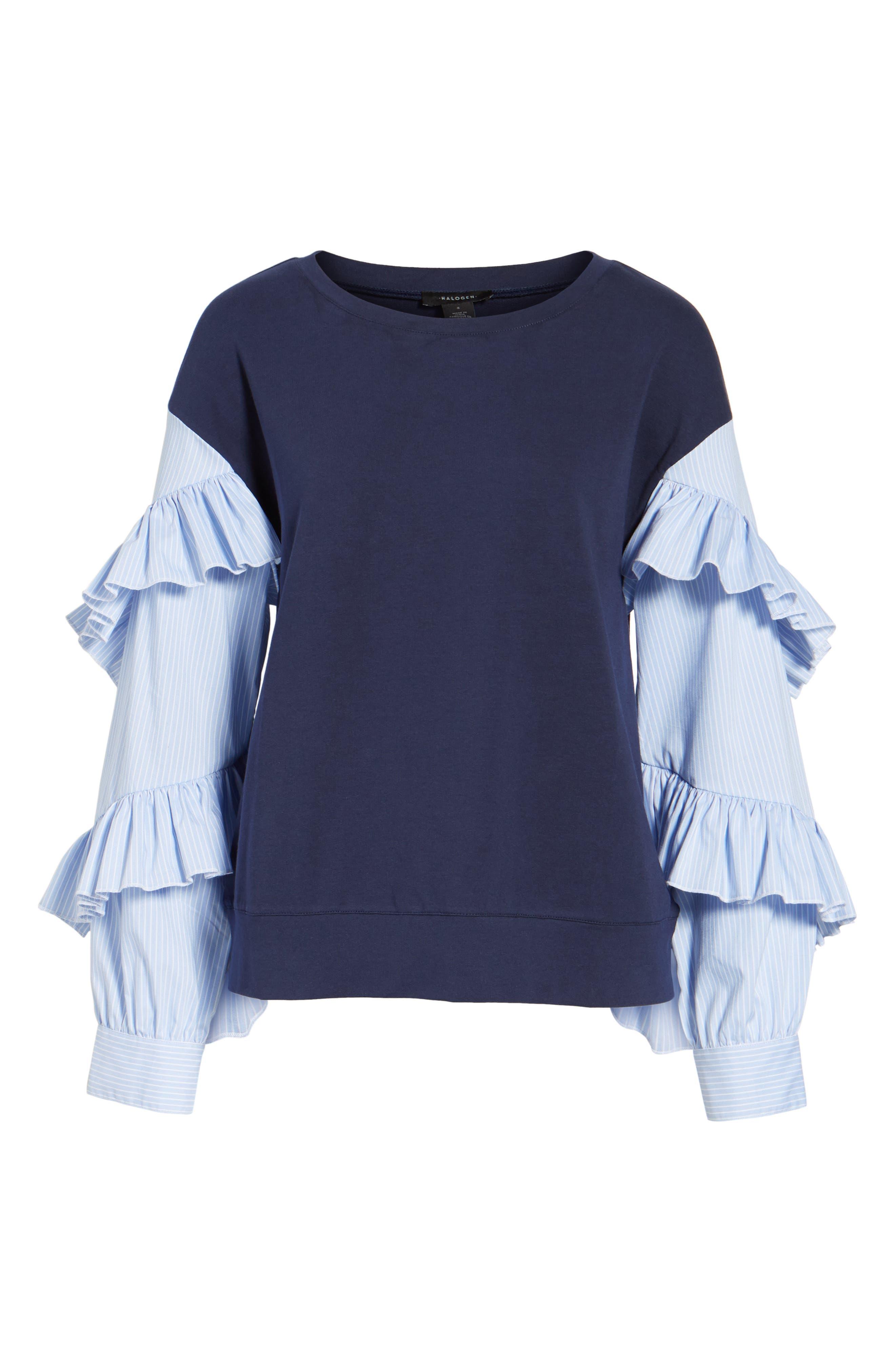 Poplin Ruffle Sleeve Sweatshirt,                             Alternate thumbnail 18, color,
