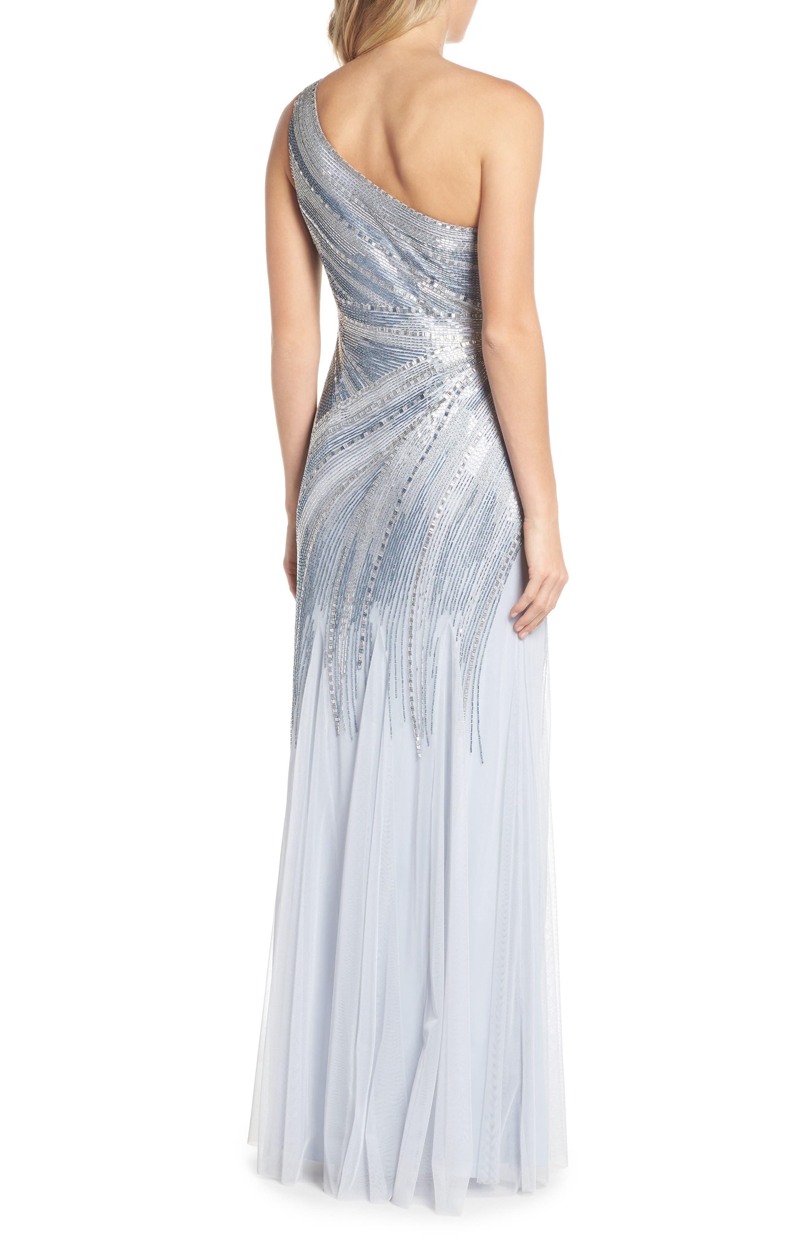Beaded One-Shoulder Mermaid Gown,                             Alternate thumbnail 2, color,                             450