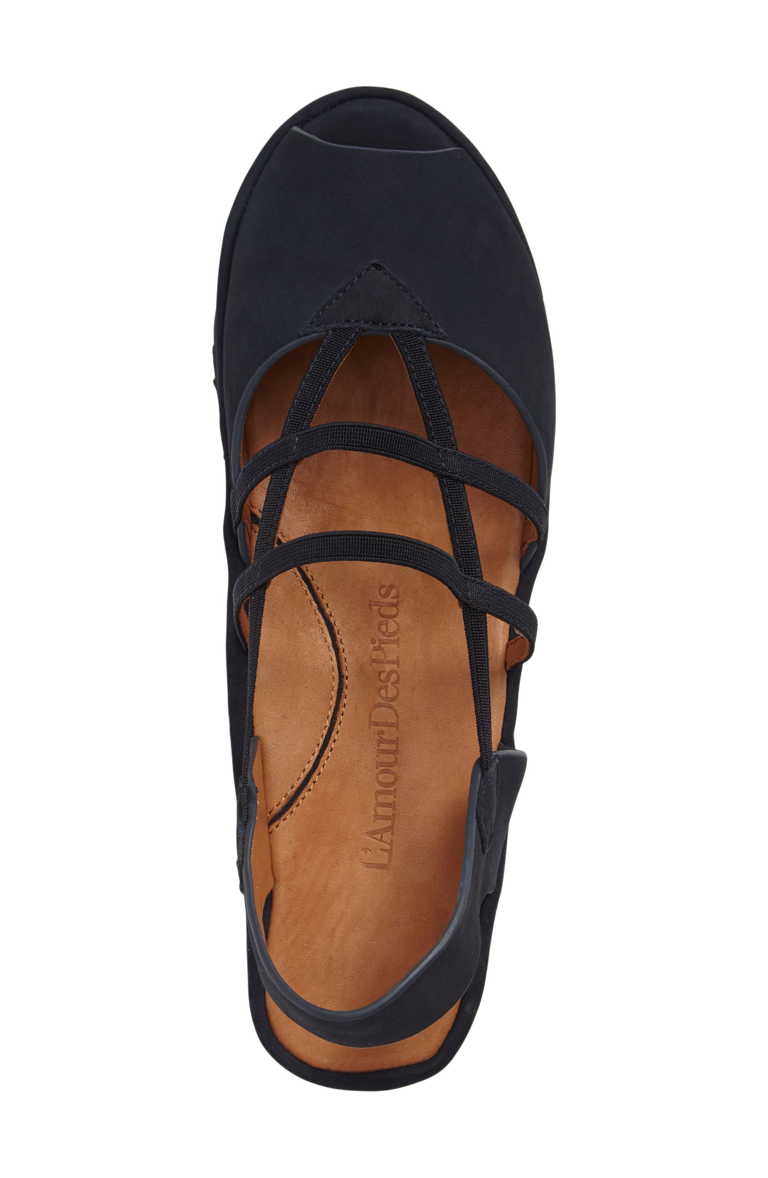 Adelais Platform Wedge Sandal,                             Alternate thumbnail 3, color,                             NAVY NUBUCK