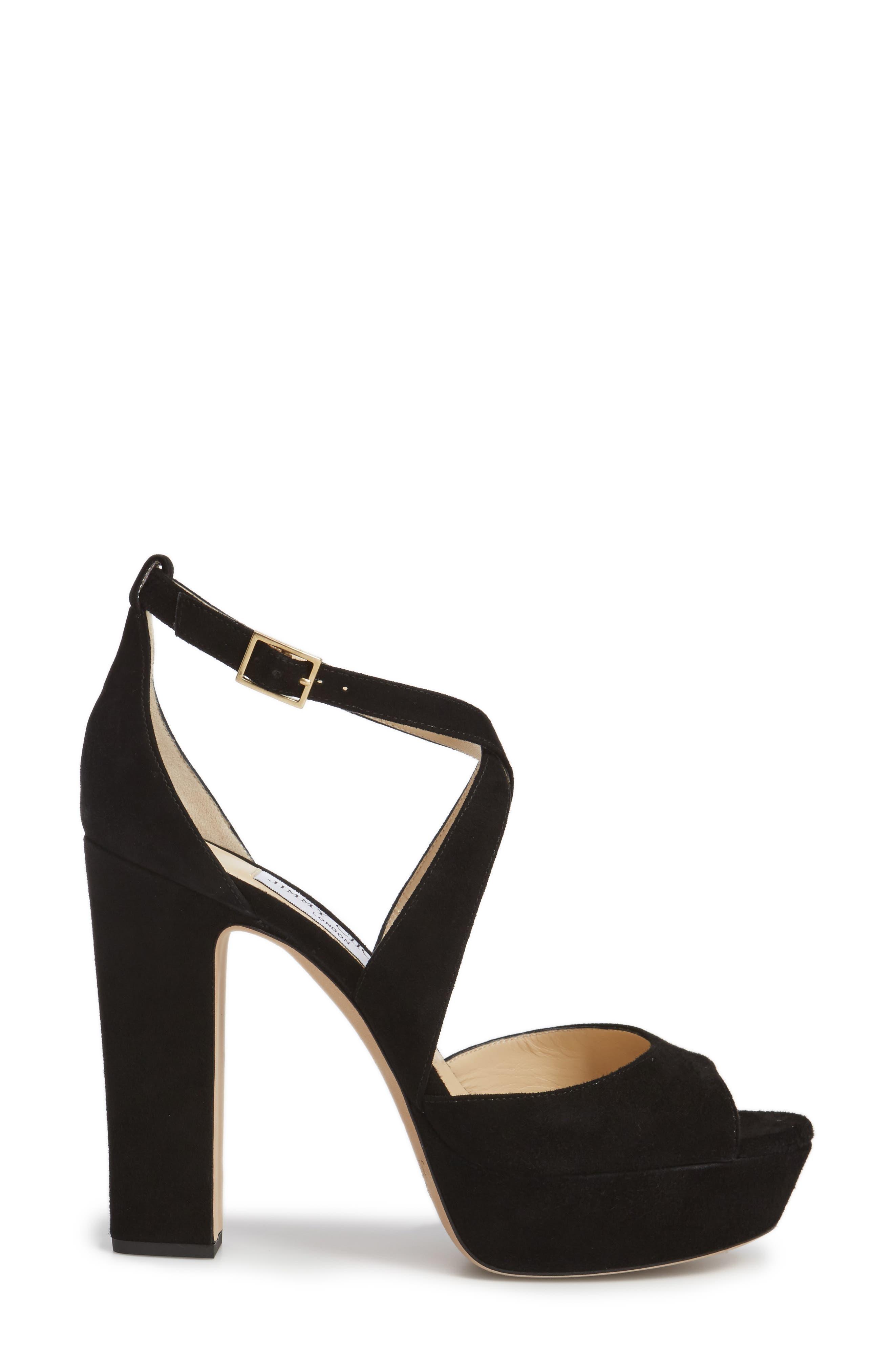 April Platform Sandal,                             Alternate thumbnail 3, color,                             BLACK SUEDE
