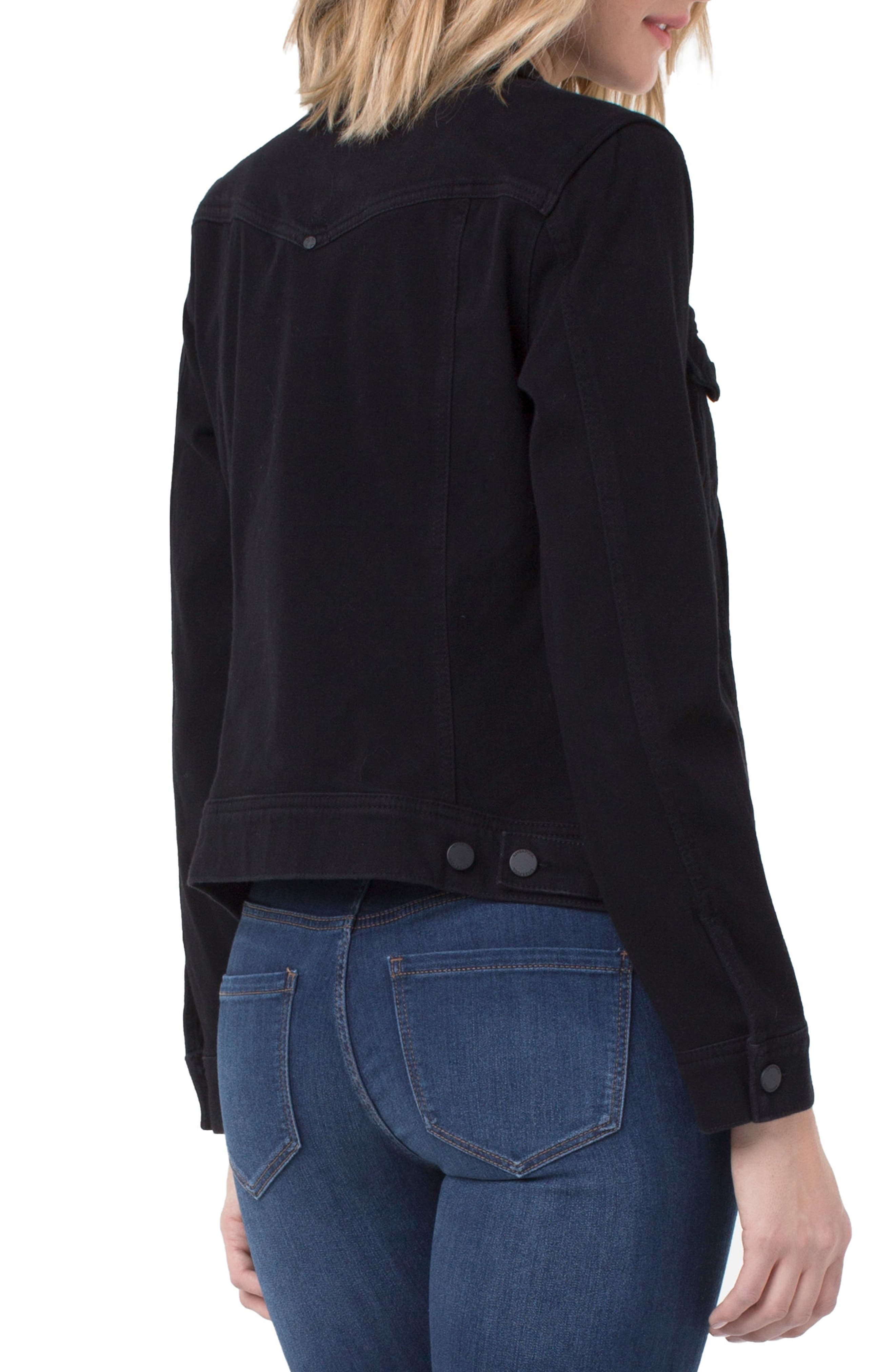 Jeans Co. Knit Denim Jacket,                             Alternate thumbnail 3, color,                             001