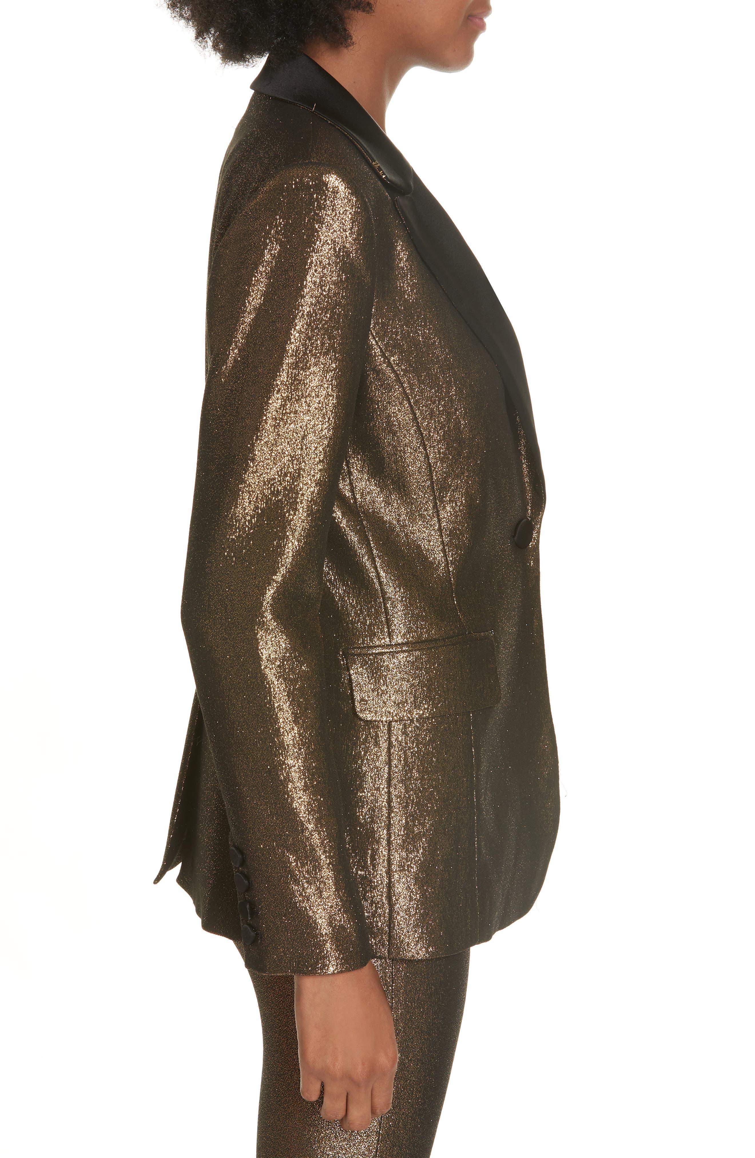 Robert Notch Collar Metallic Blazer,                             Alternate thumbnail 3, color,                             001