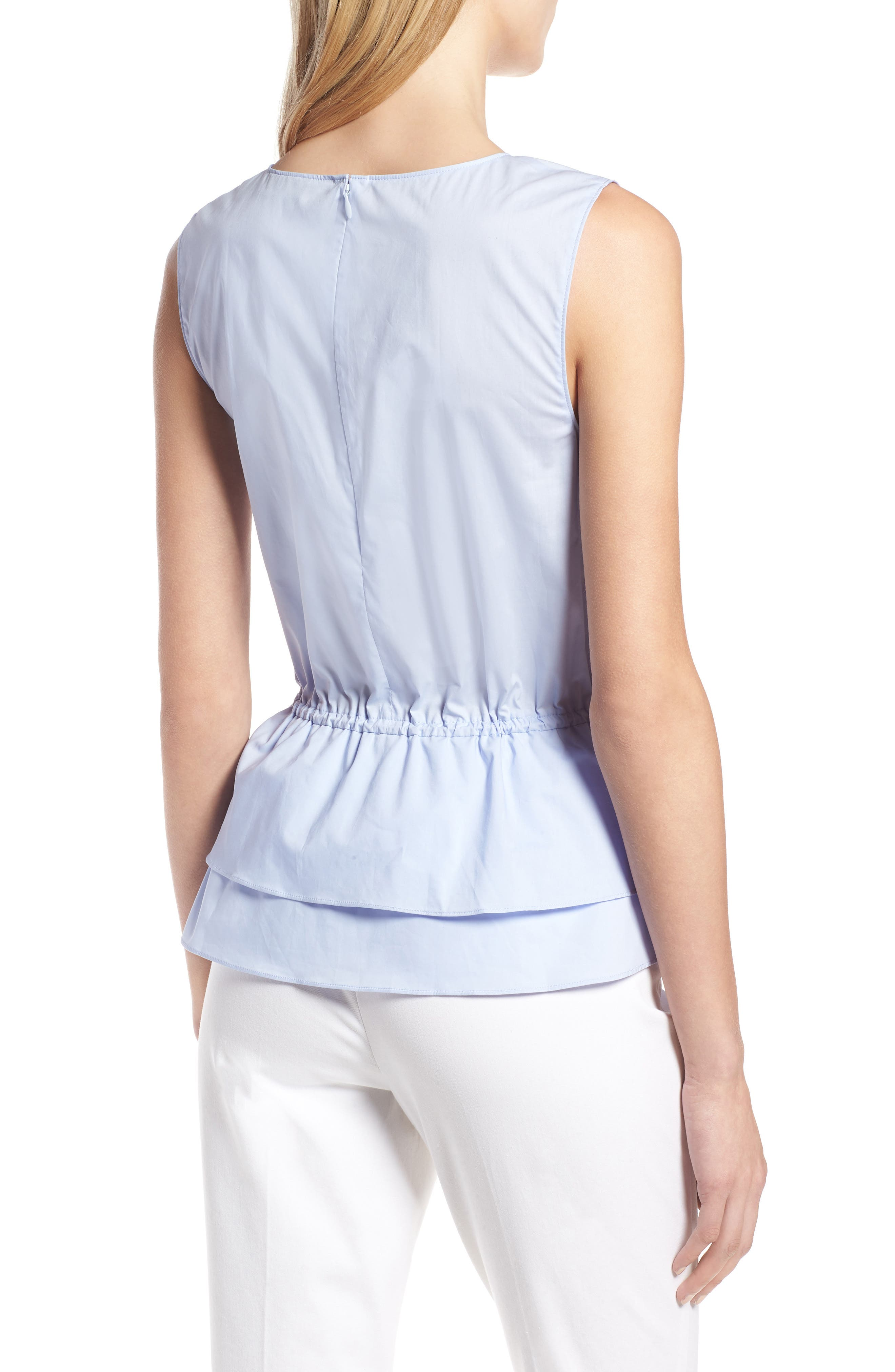 Toggle Front Cotton Peplum Top,                             Alternate thumbnail 2, color,