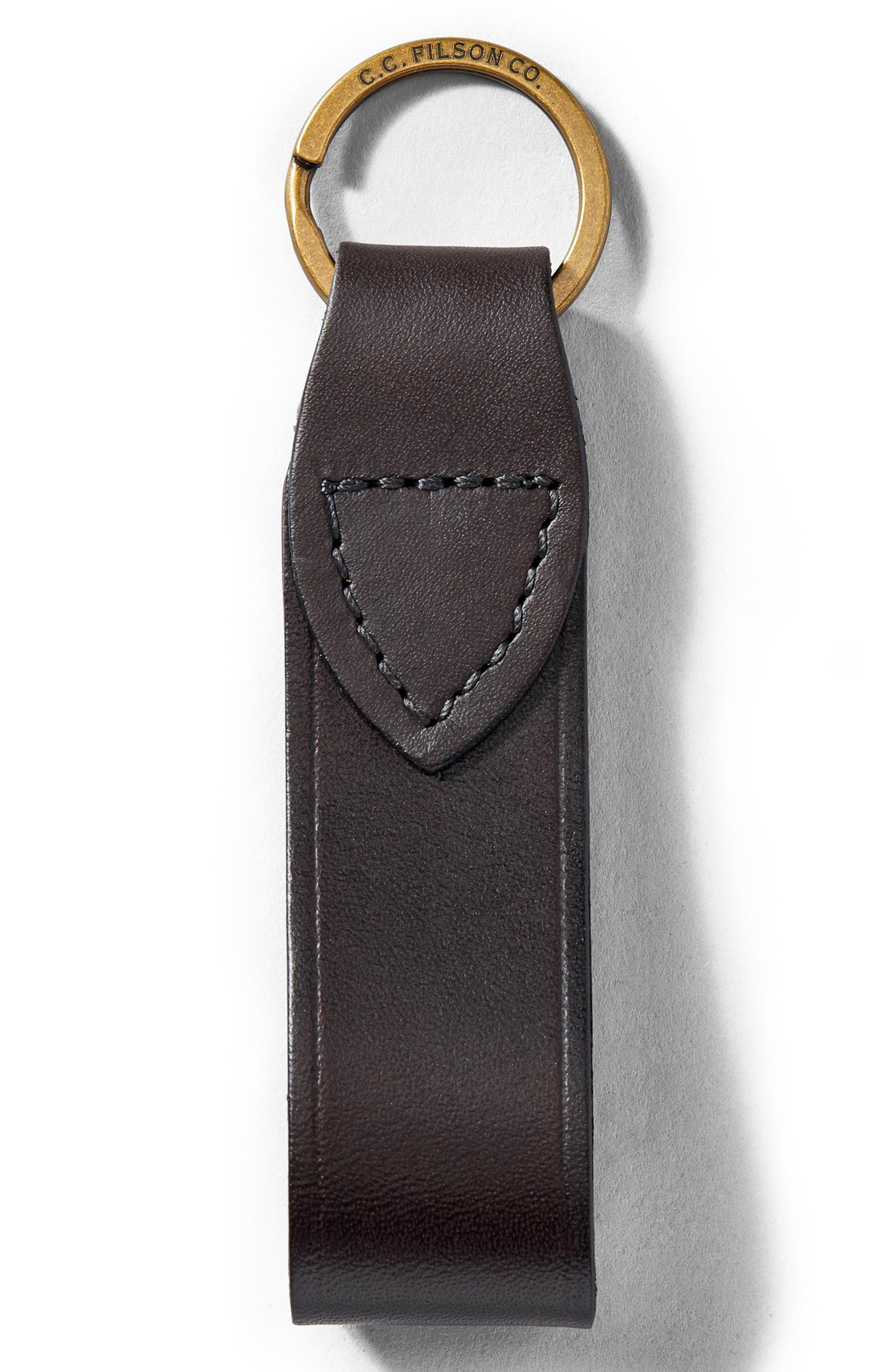 Leather Key Chain,                         Main,                         color, BROWN