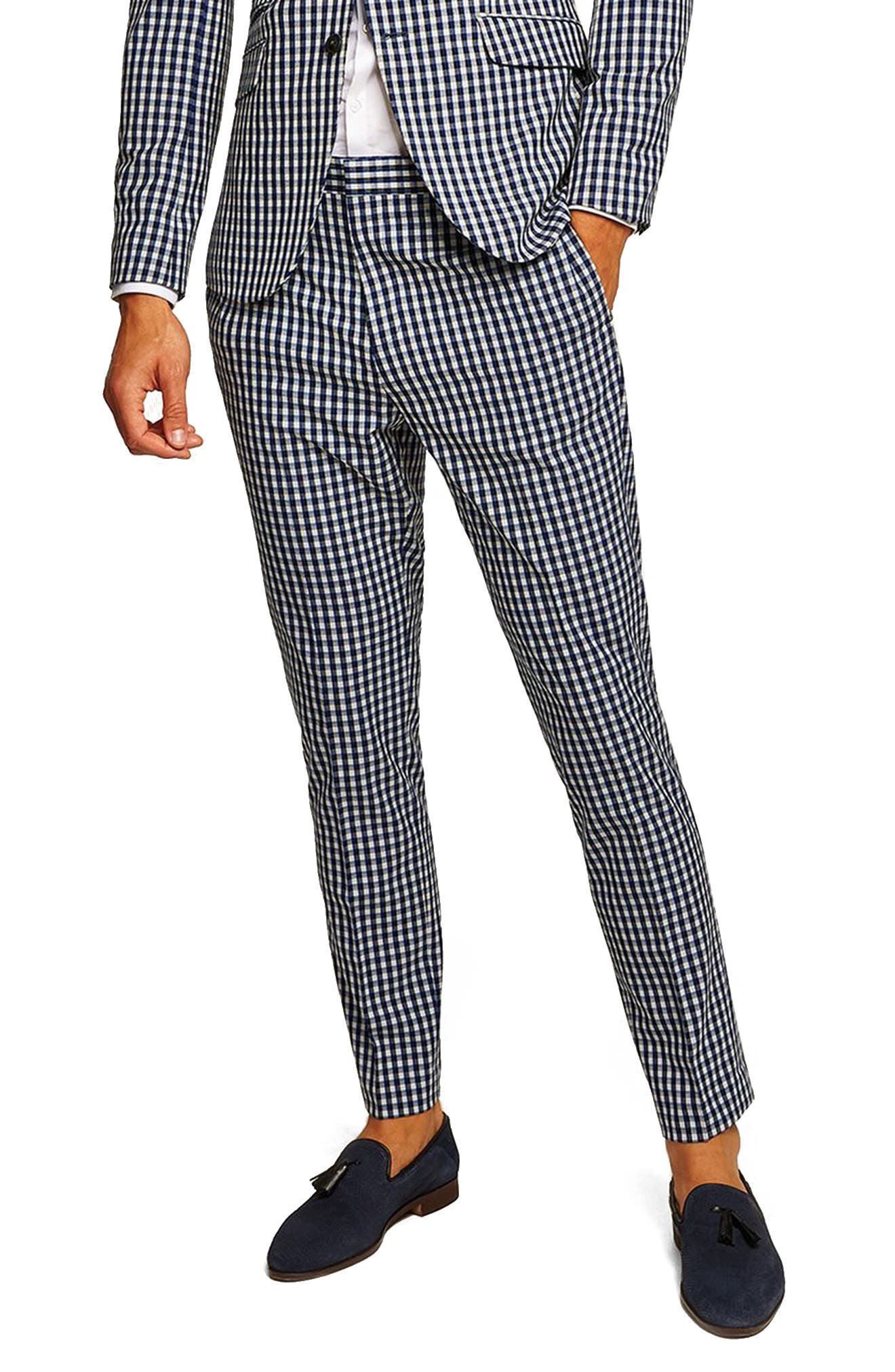 Muscle Fit Check Suit Trousers,                         Main,                         color, 400