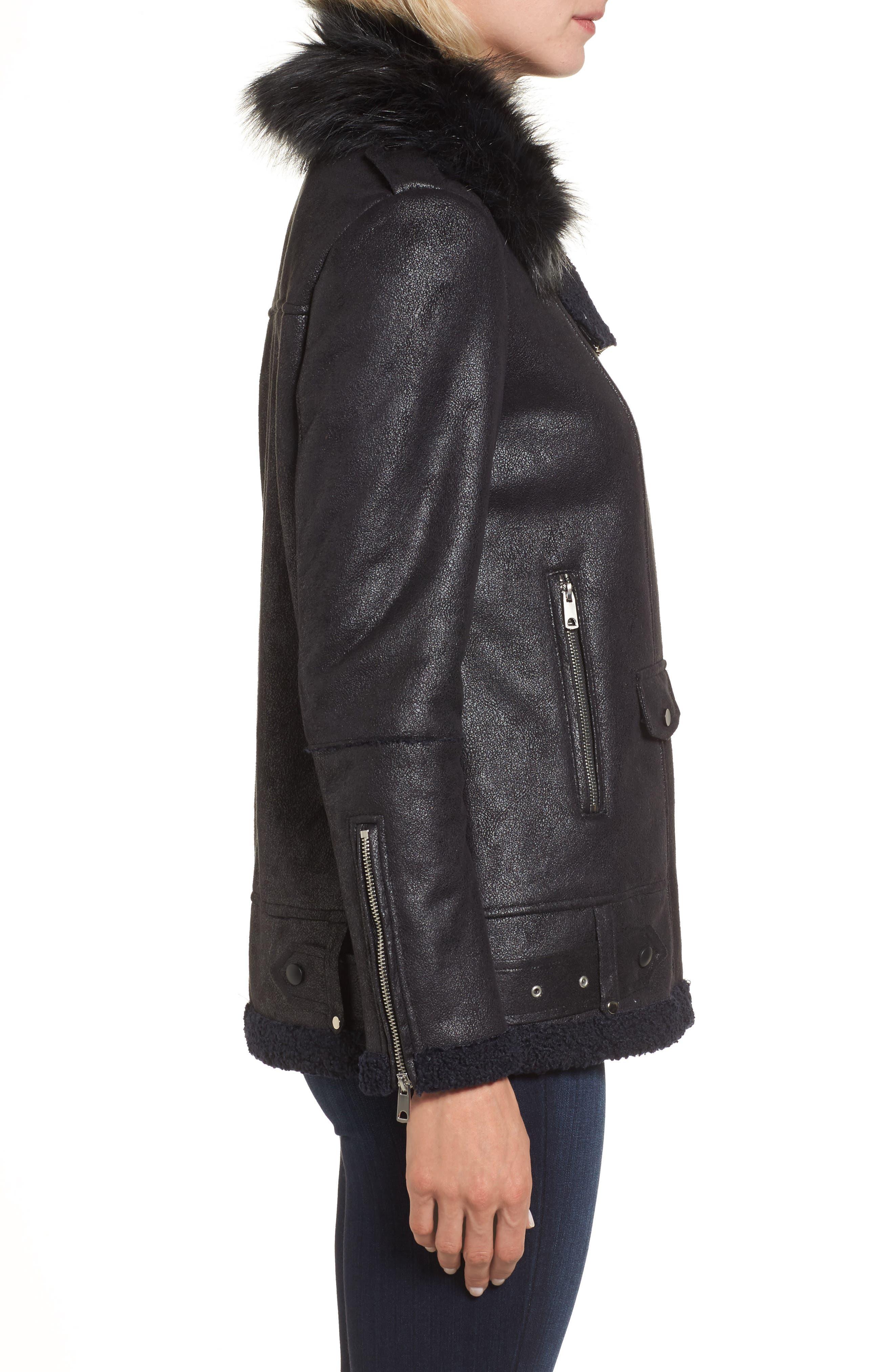Faux Suede Moto Jacket with Faux Fur Collar,                             Alternate thumbnail 3, color,                             460