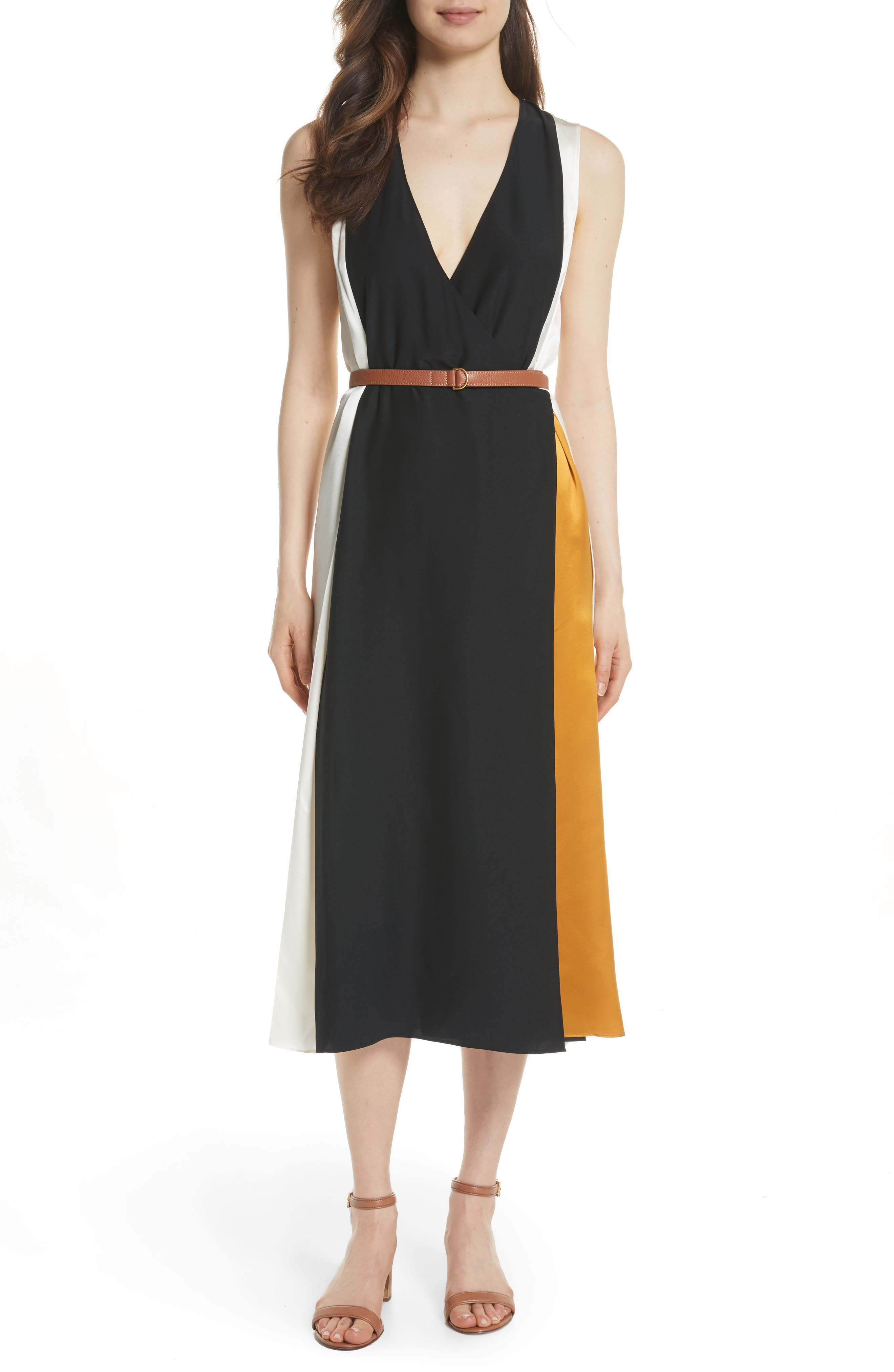 Clarice Colorblock Silk Wrap Dress,                             Main thumbnail 1, color,                             001