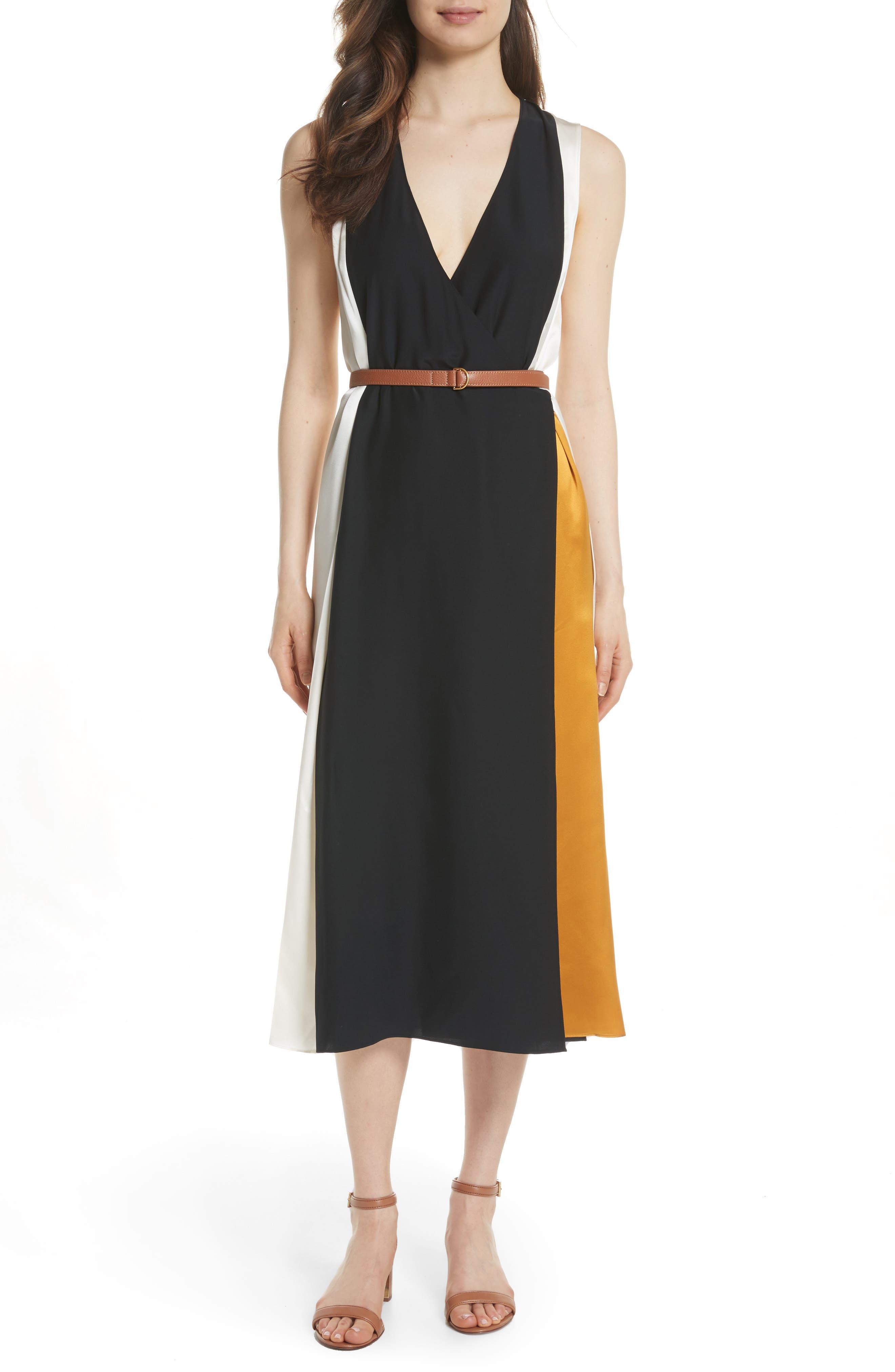 Clarice Colorblock Silk Wrap Dress,                         Main,                         color, 001