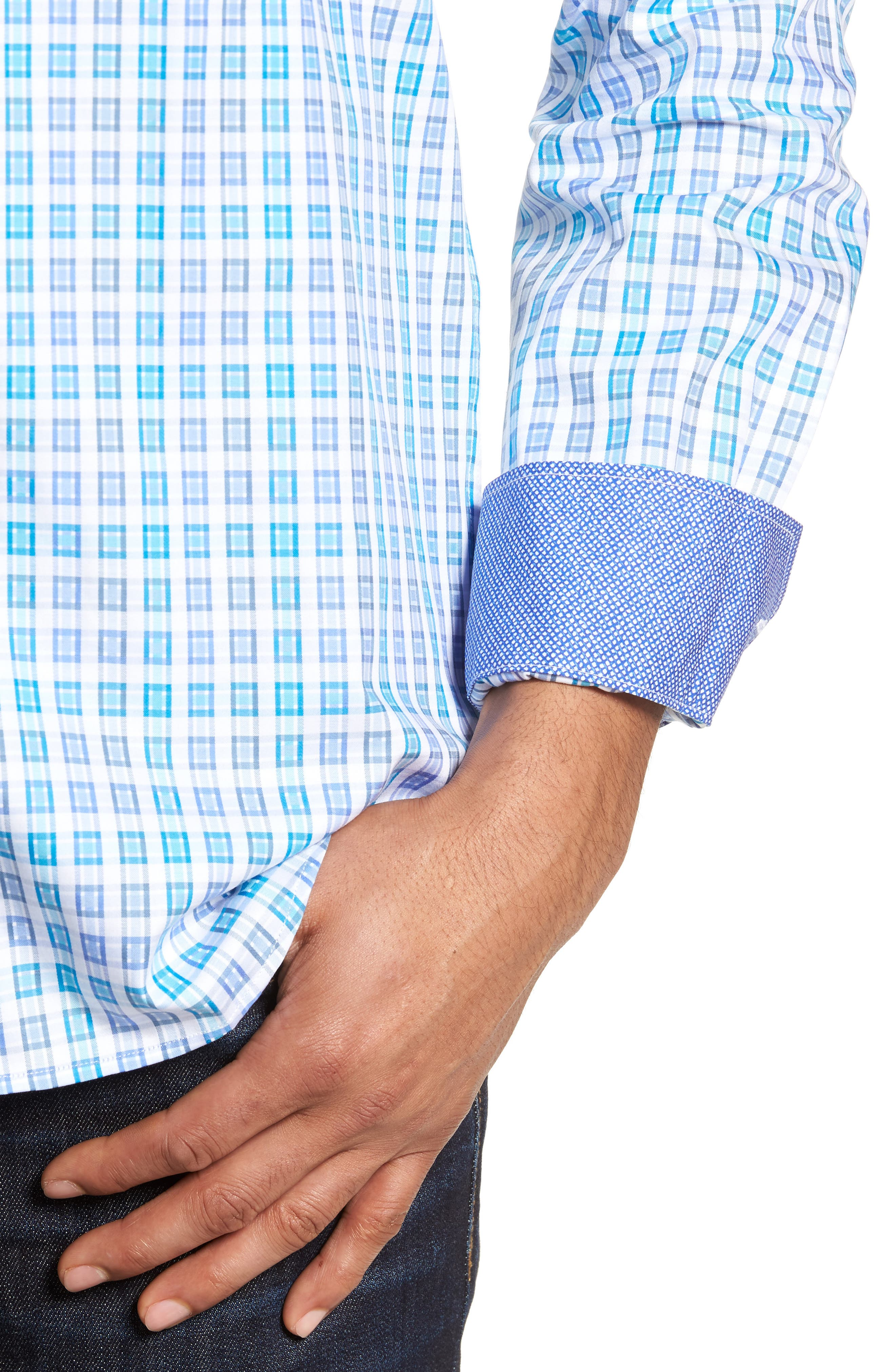Shaped Fit Check Sport Shirt,                             Alternate thumbnail 4, color,                             424