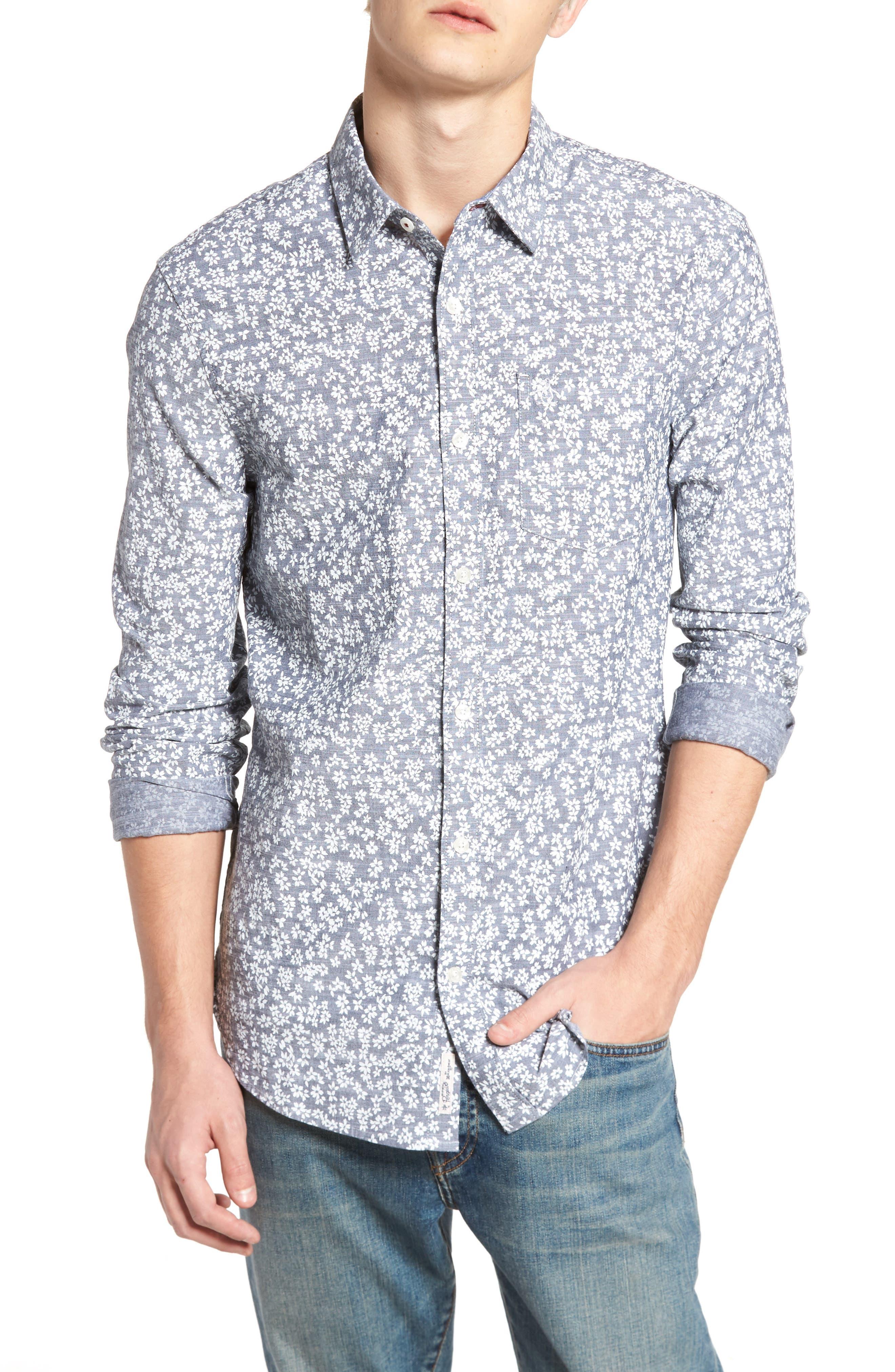Floral Chambray Shirt,                             Main thumbnail 1, color,