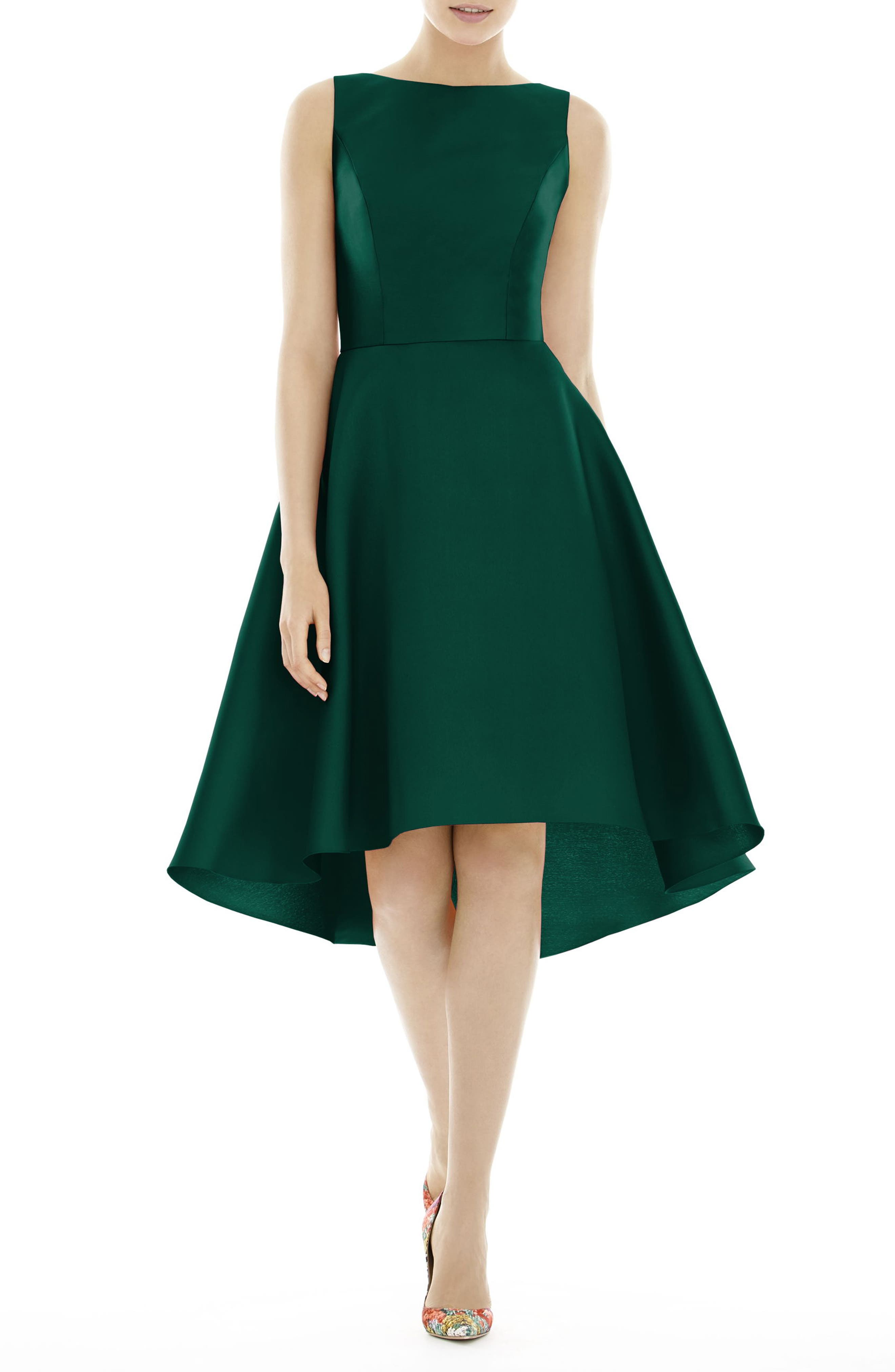 High/Low Cocktail Dress,                         Main,                         color, HUNTER